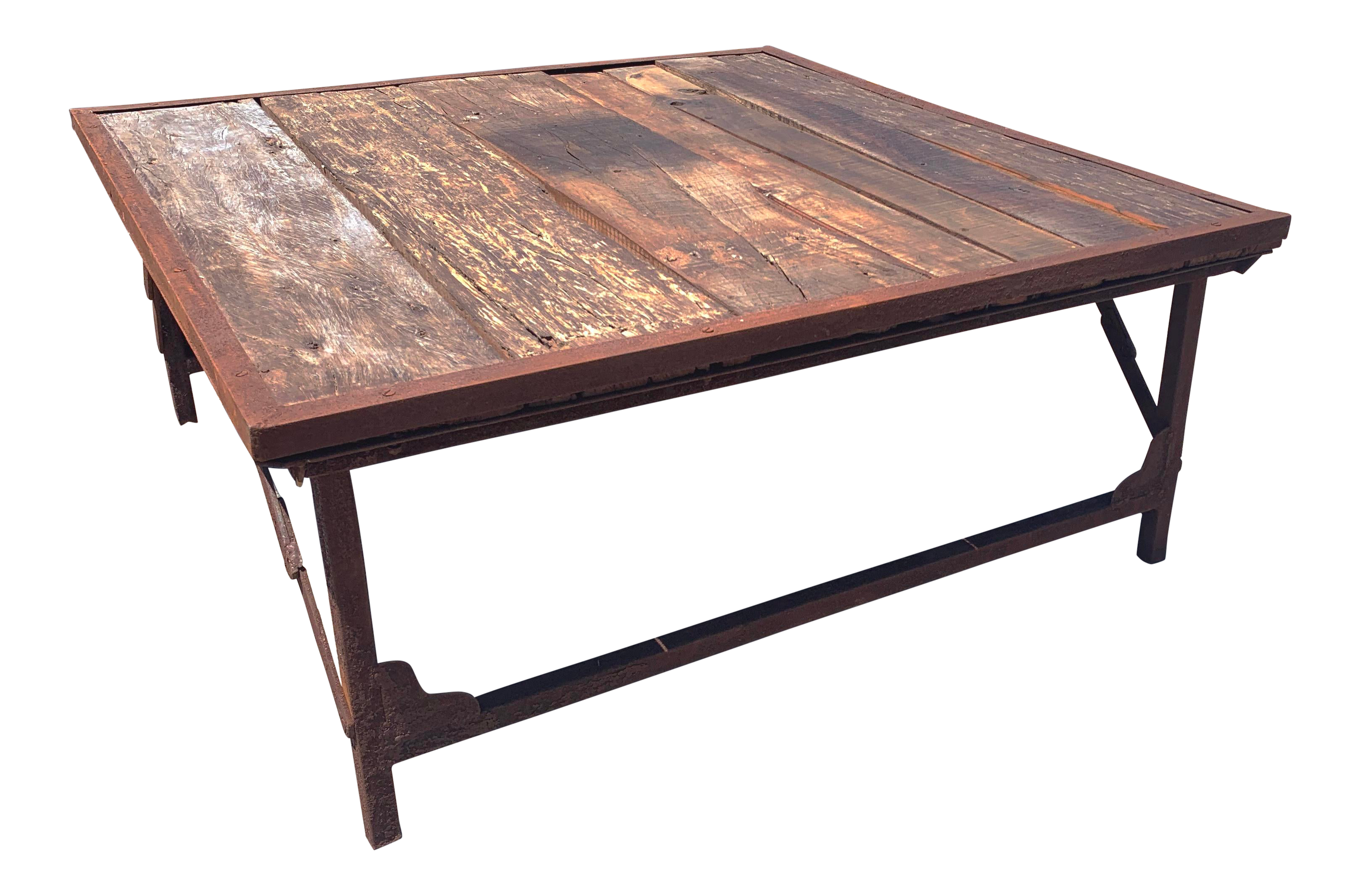 Recycled Wood And Iron Square Folding Coffee Table By Kalalou