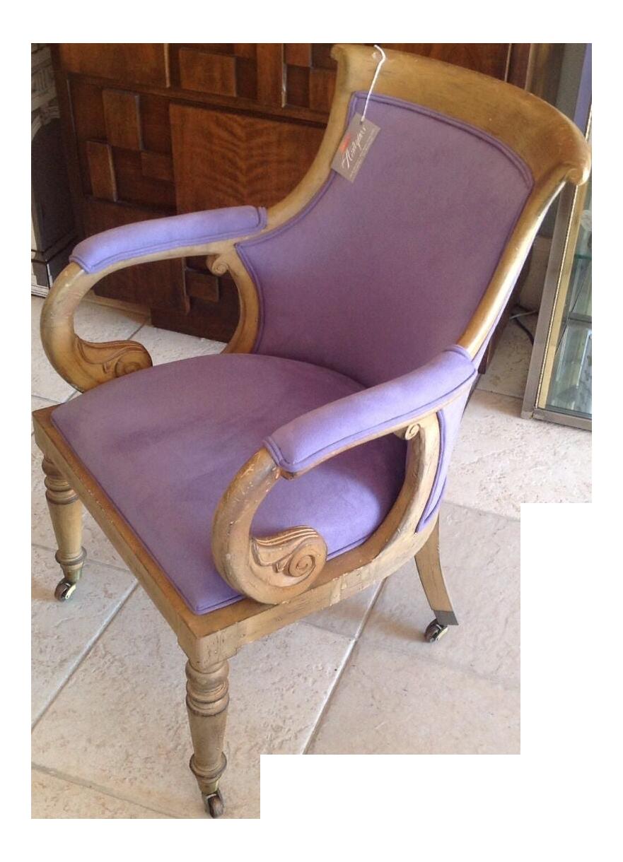 Superb Italian Scroll Desk Chair New Lush Lilac Fabric Mid Century Modern Cjindustries Chair Design For Home Cjindustriesco