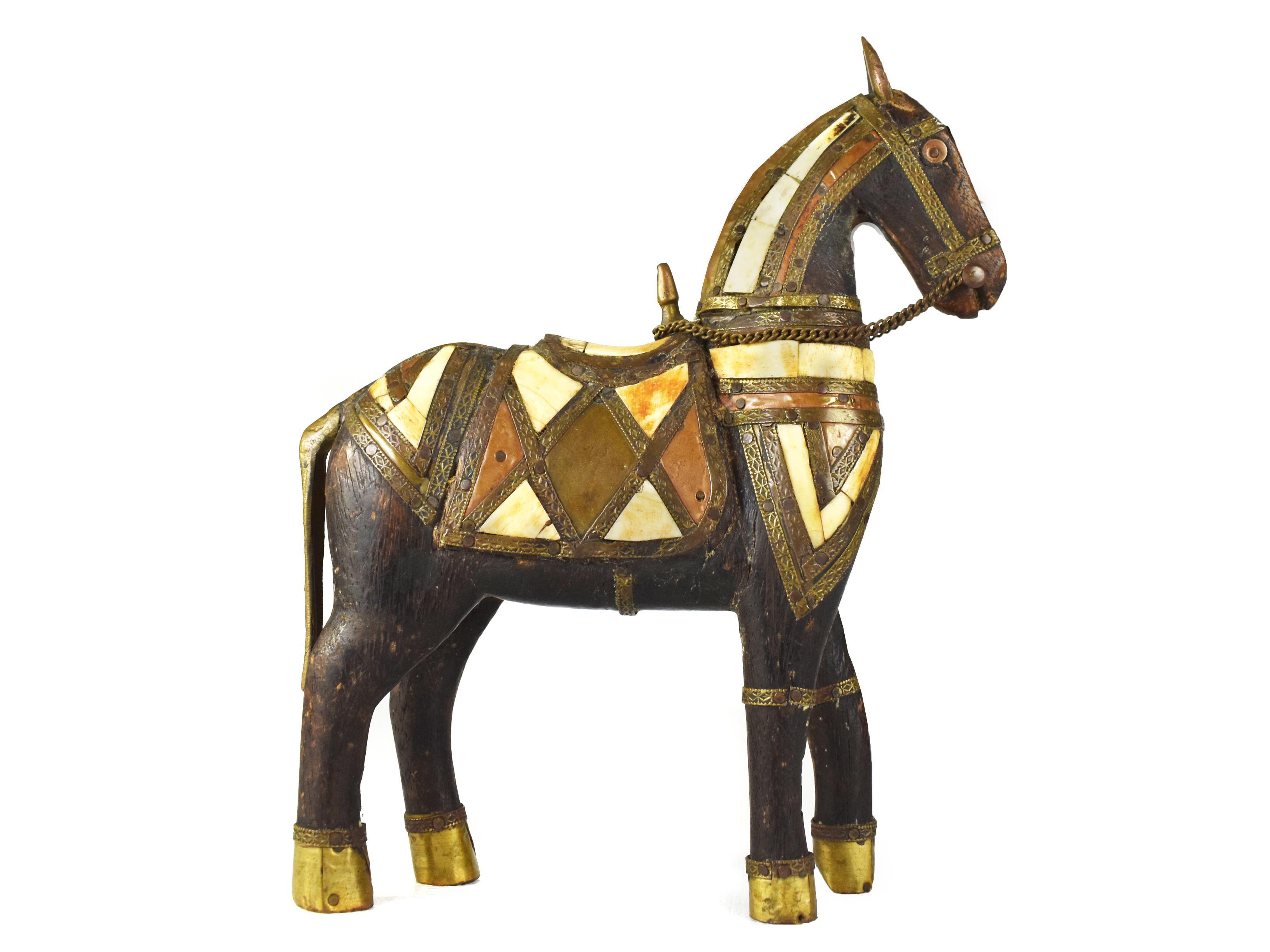 Antique Hand Carved Wooden Torojan Horse With Hand Hammered Brass Inlaid Bones Figurine Chairish