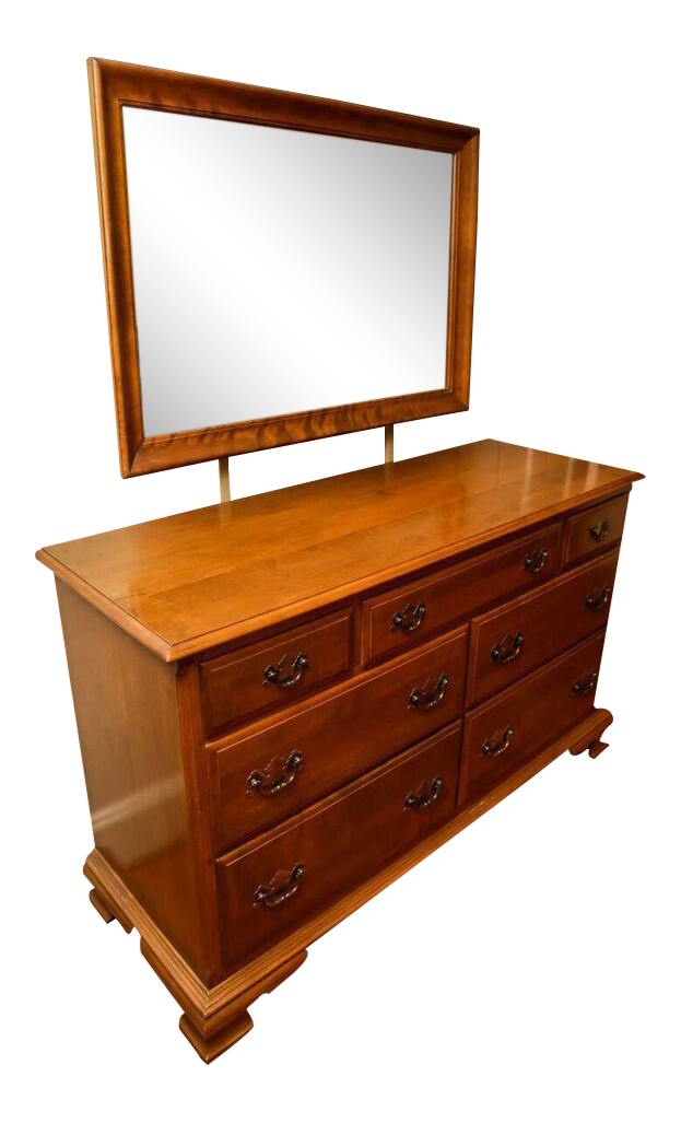 Image of: 1960s Ethan Allen Maple Bedroom Dresser And Mirror A Pair Chairish