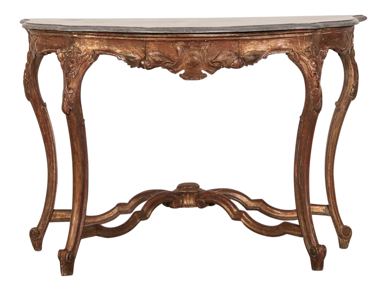 World Class Antique French Louis XV Gold Leaf Console Table, Original  Marble Top, Circa 1810 | DECASO