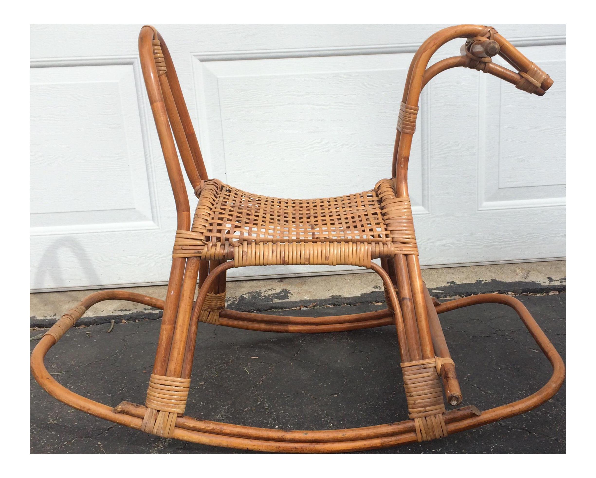 Boho Baby Rattan Rocking Horse Chairish