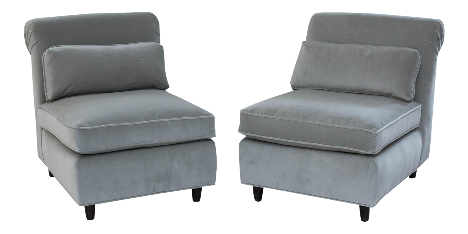 High End Pair Of Midcentury Slipper Chairs | DECASO