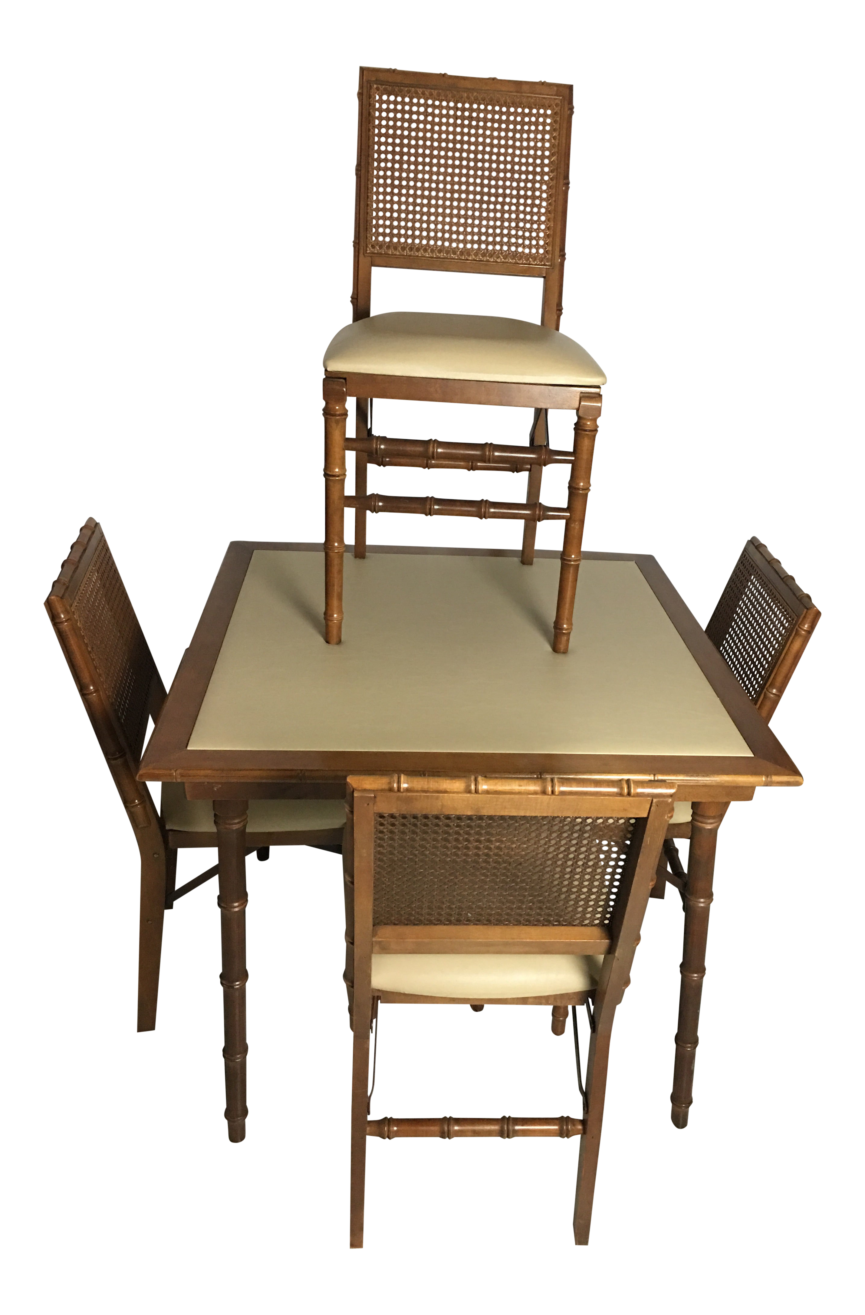 Stakmore Mid Century Modern Wood Bamboo Table 4 Chairs