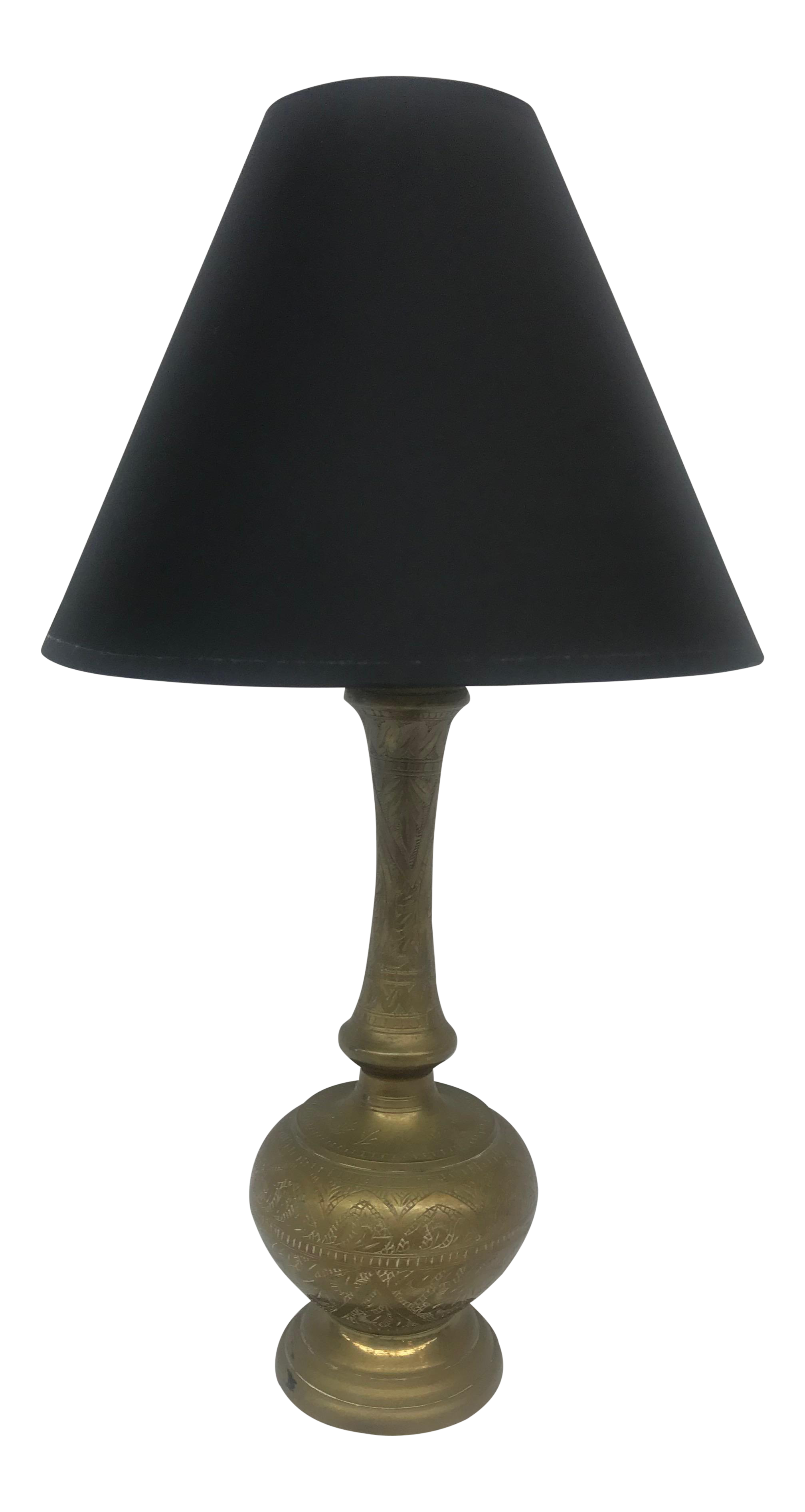 Turkish Brass Bottle Shaped Table Lamp With Black Shade