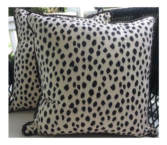 Ballard Designs Pillows In Black Cream Animal Print Linen