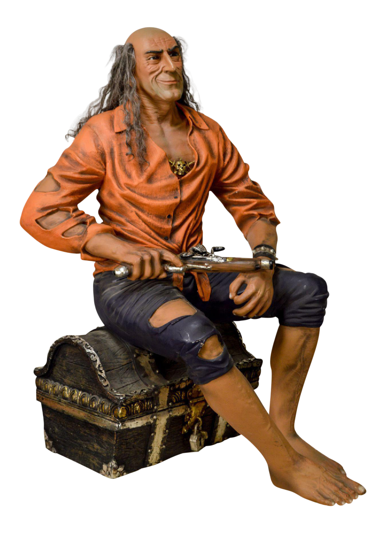 Picture sexy pirate sitting on treasure chest