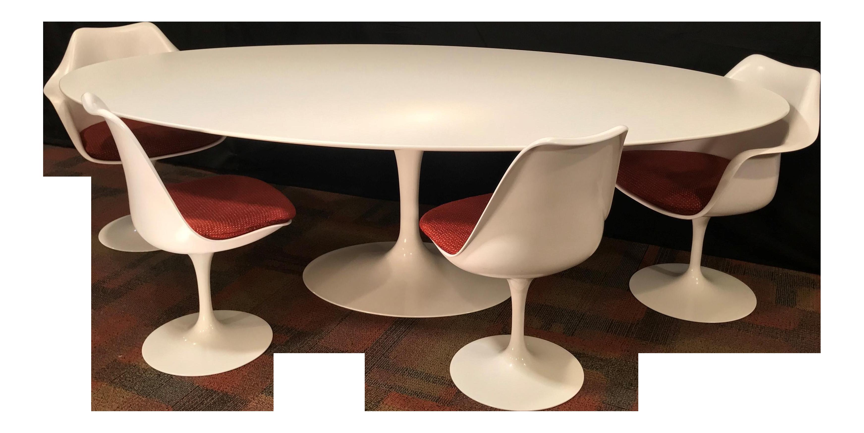 Eero Saarinen Oval Dining Table u0026 Swivel Chairs - 5 Pieces. Mid-Century Knoll | Chairish  sc 1 st  Chairish & Eero Saarinen Oval Dining Table u0026 Swivel Chairs - 5 Pieces. Mid ...