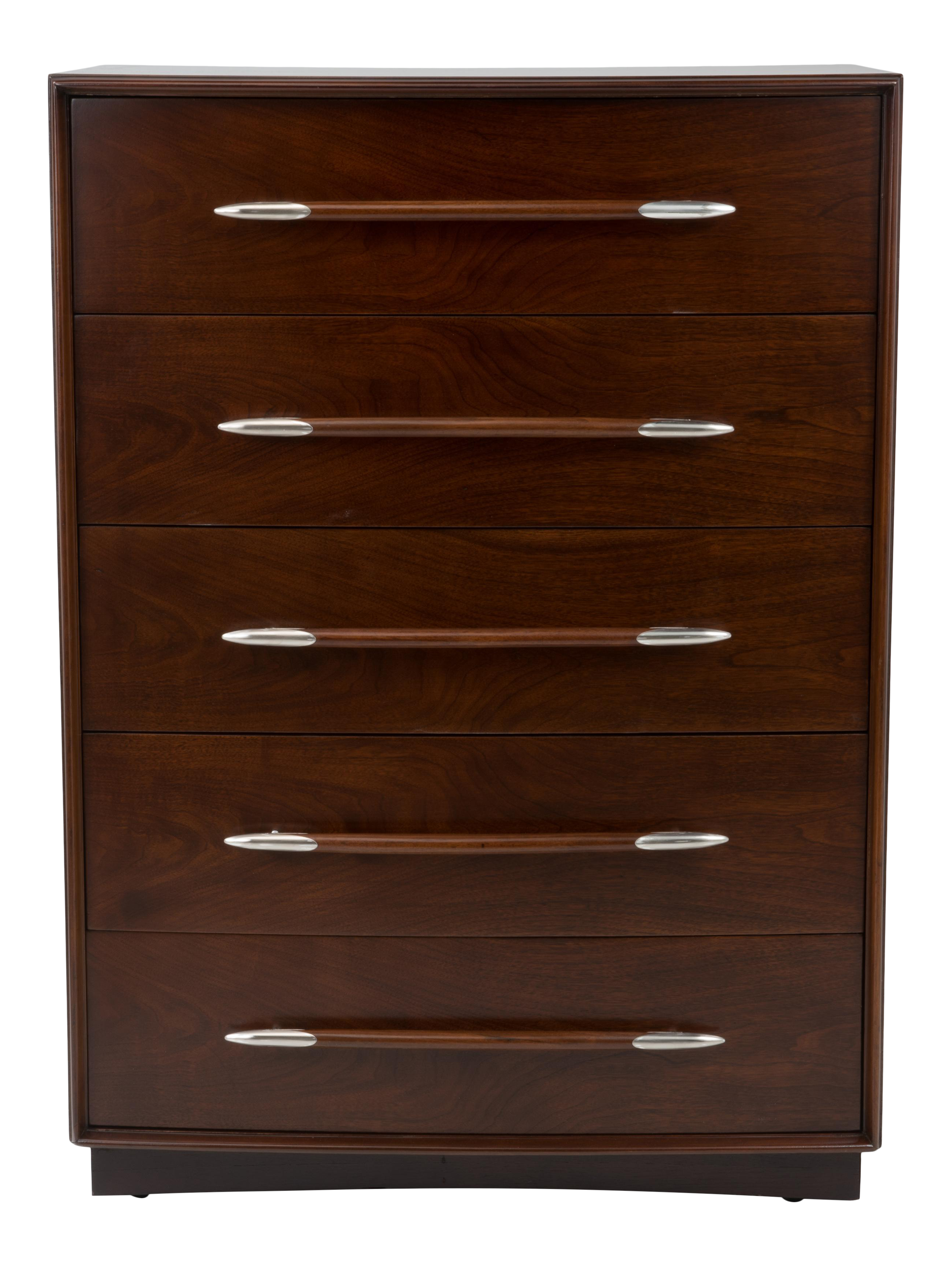 Robsjohn-Gibbings for Widdicomb Walnut Tall Chest of Drawers Newly Refinished