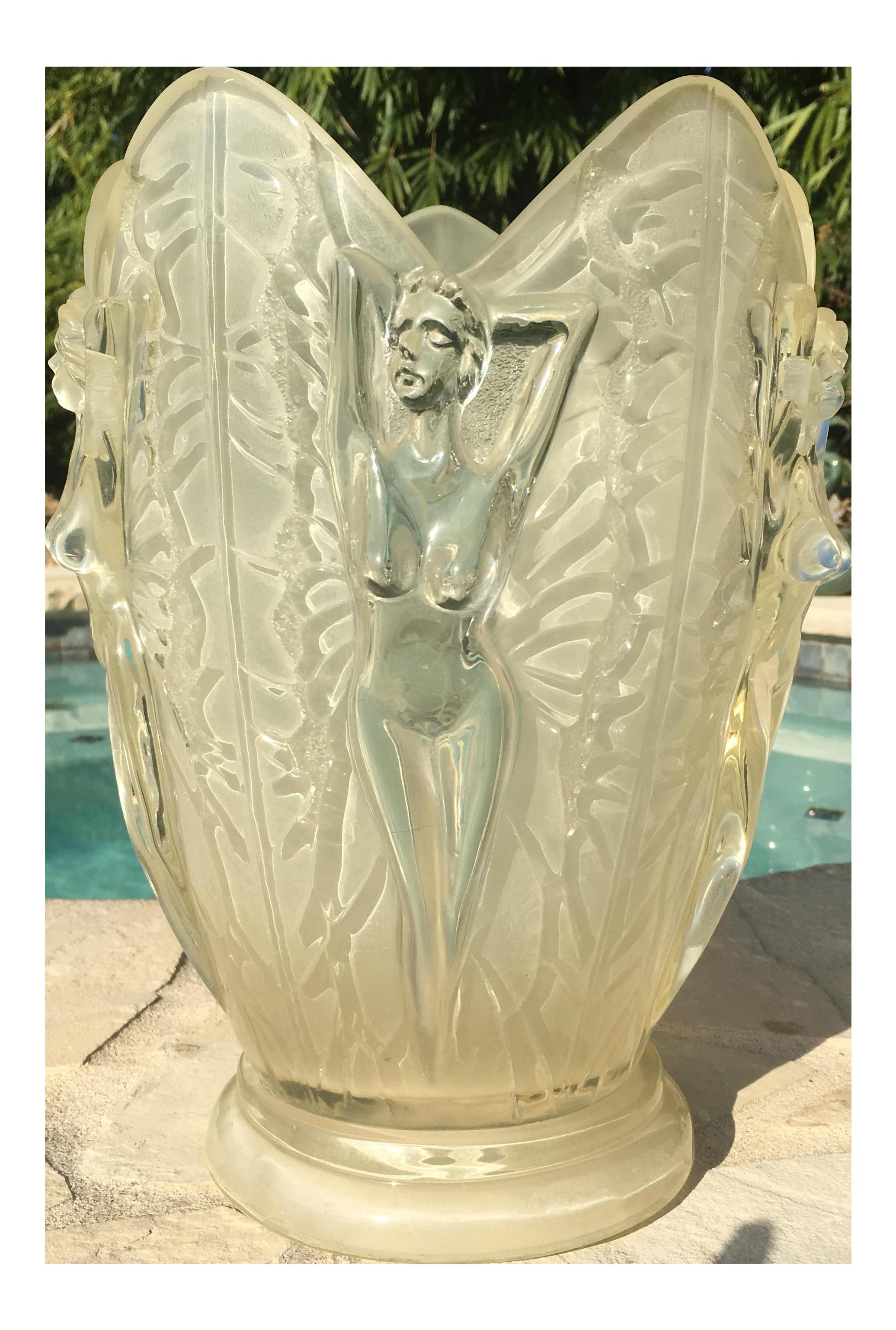 Art Deco Lucite Nude Female Ice Bucket Vase | Chairish