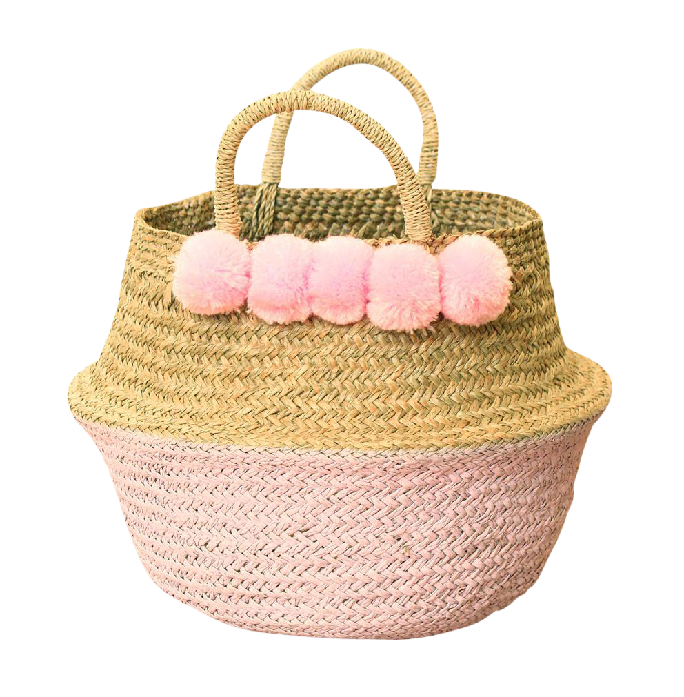 Double Woven Sea Grass Pastel Pink Pom Poms Belly Basket   Chairish