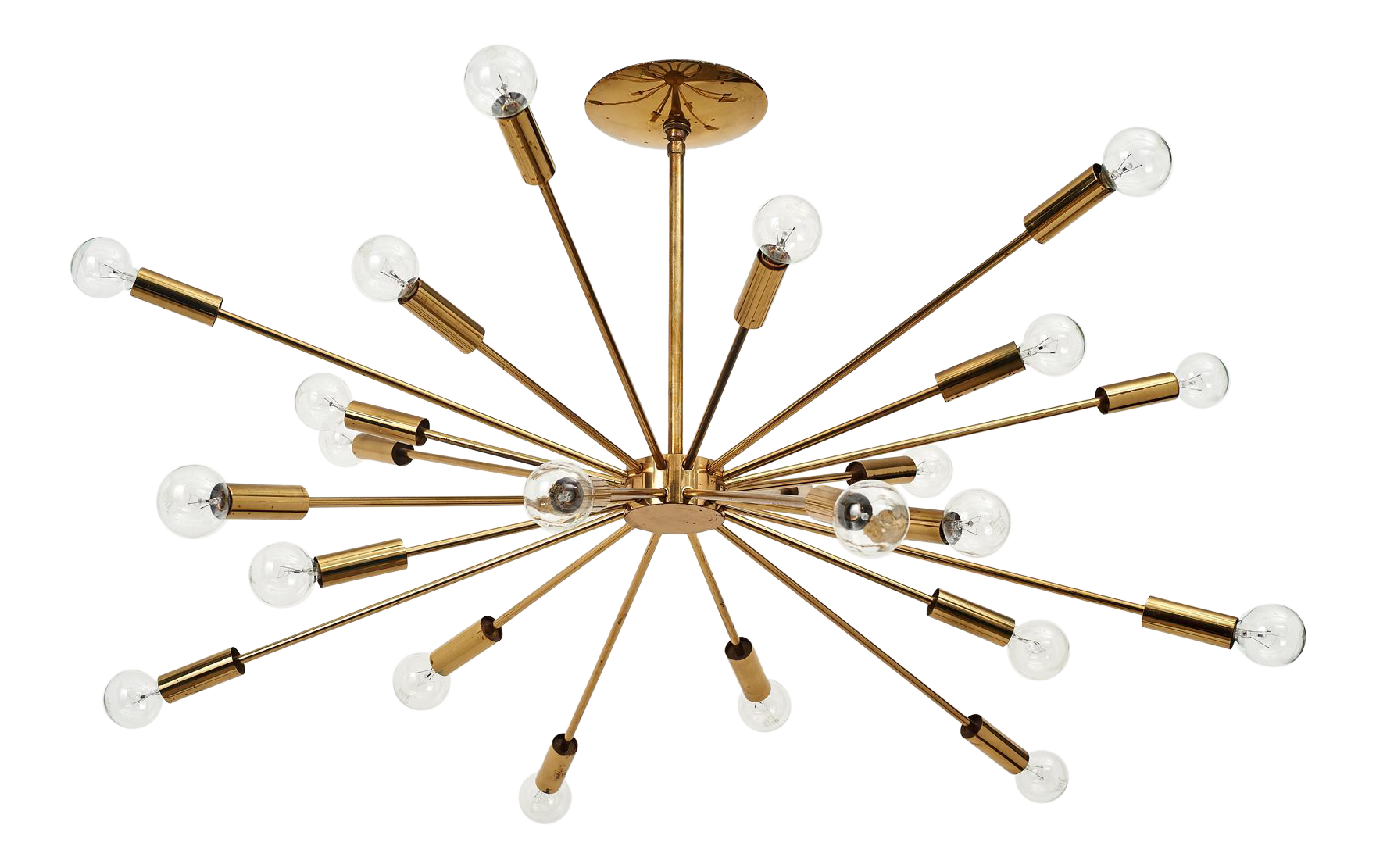 Superb Gino Sarfatti 24 Light Brass Sputnik Chandelier Model 4081 Ca 1950 Decaso
