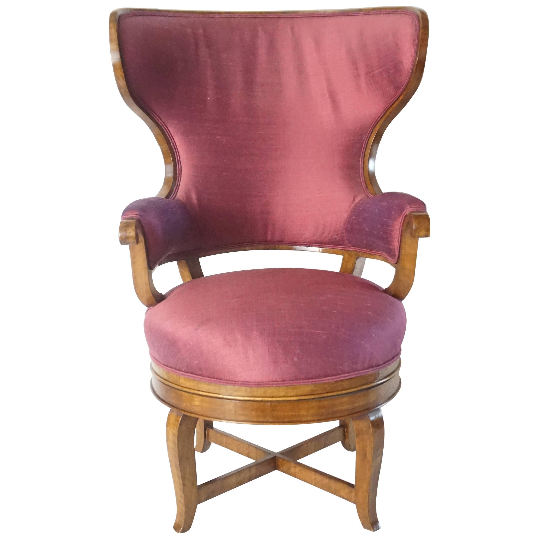 Biedermeier Fauteuil De Bureau Swivel Seat Wingback Chair Circa 1830