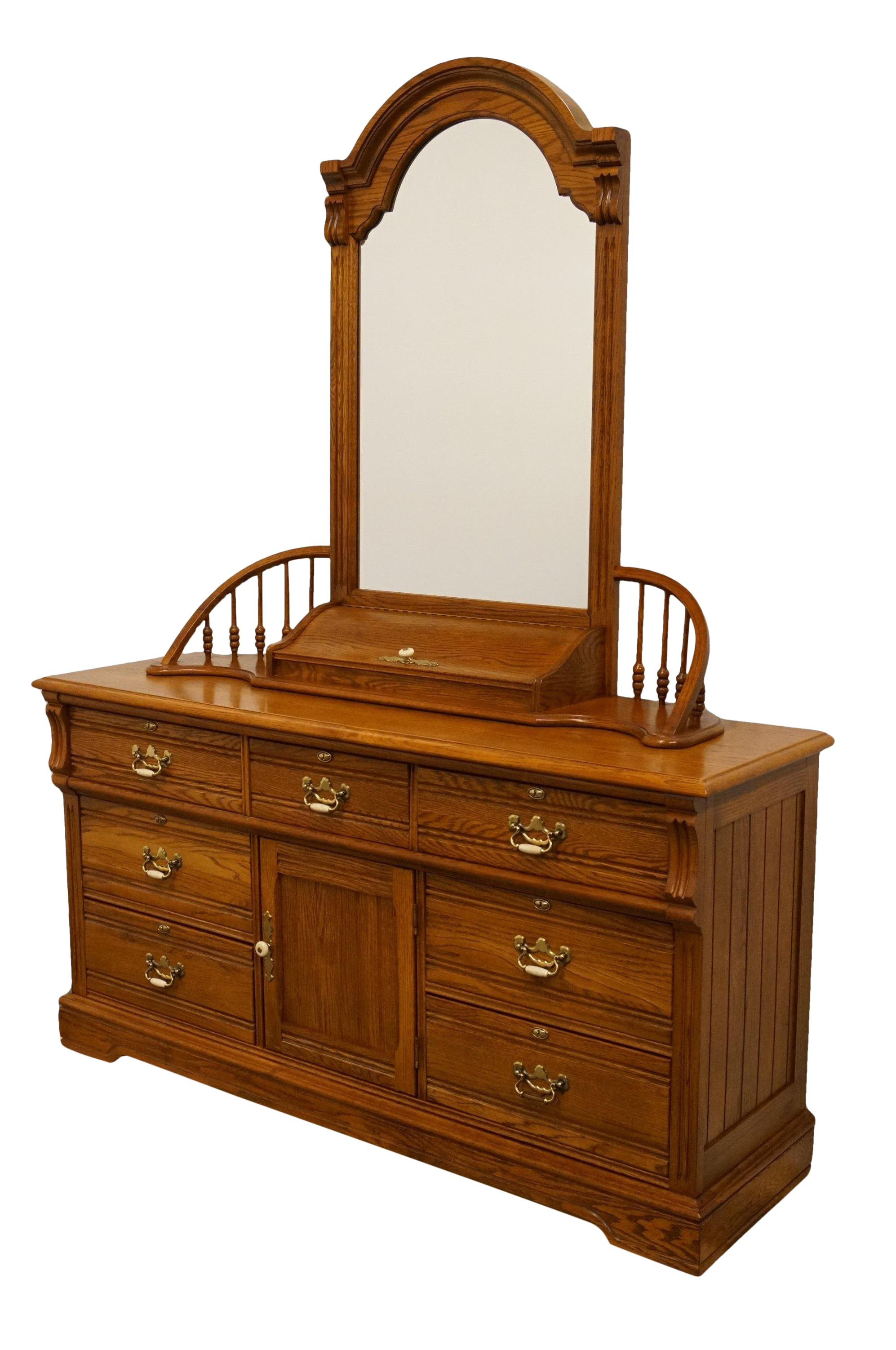 20th century traditional lexington furniture recollections collection solid oak 64 triple door dresser with mirror chairish