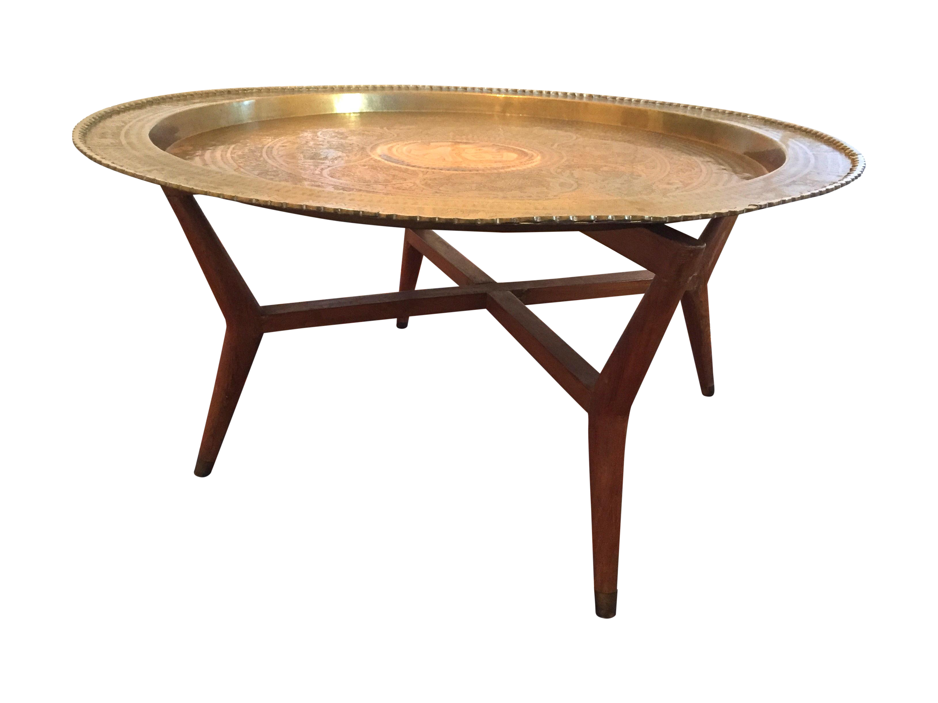 MCM Oriental Brass Tray Table