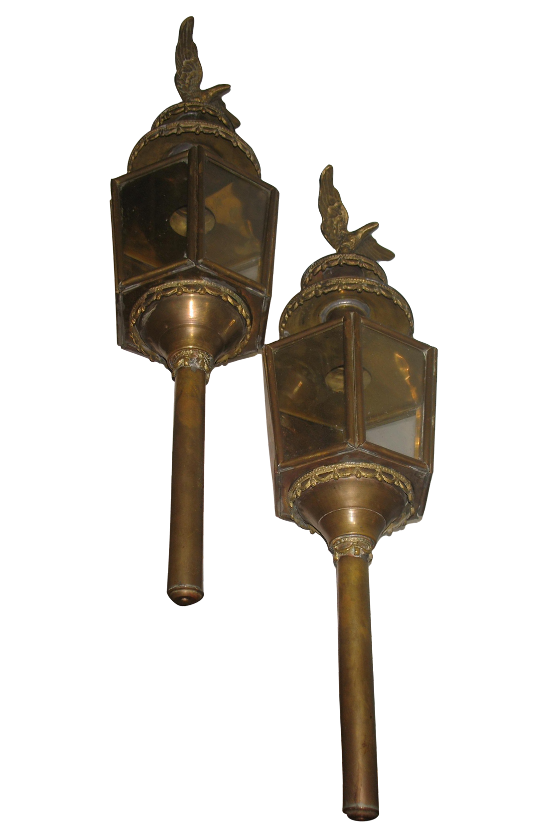 Antique English Brass Carriage Lantern With Eagle Coach Lamps Pair Chairish