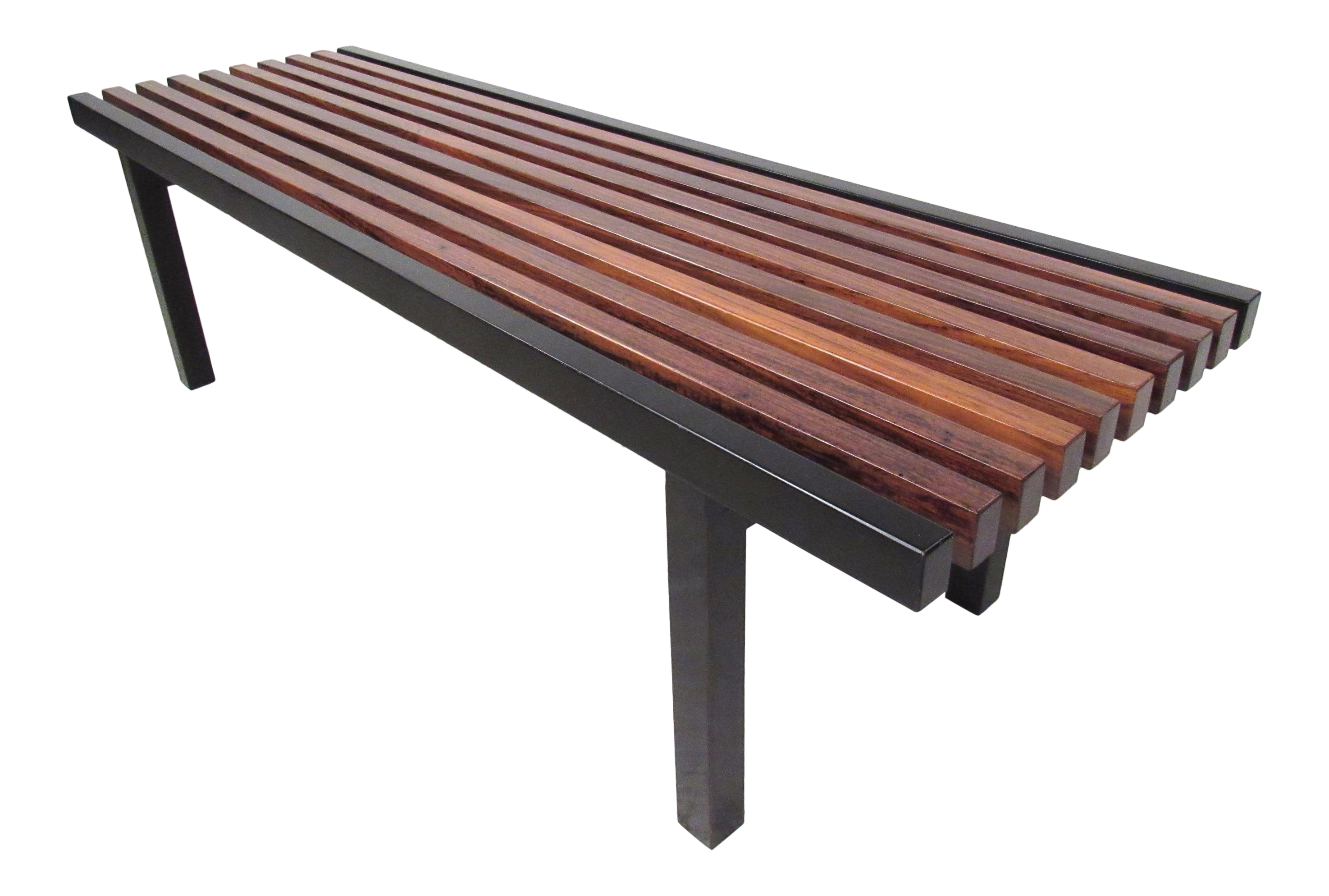Unique Mid Century Modern Slat Bench Coffee Table