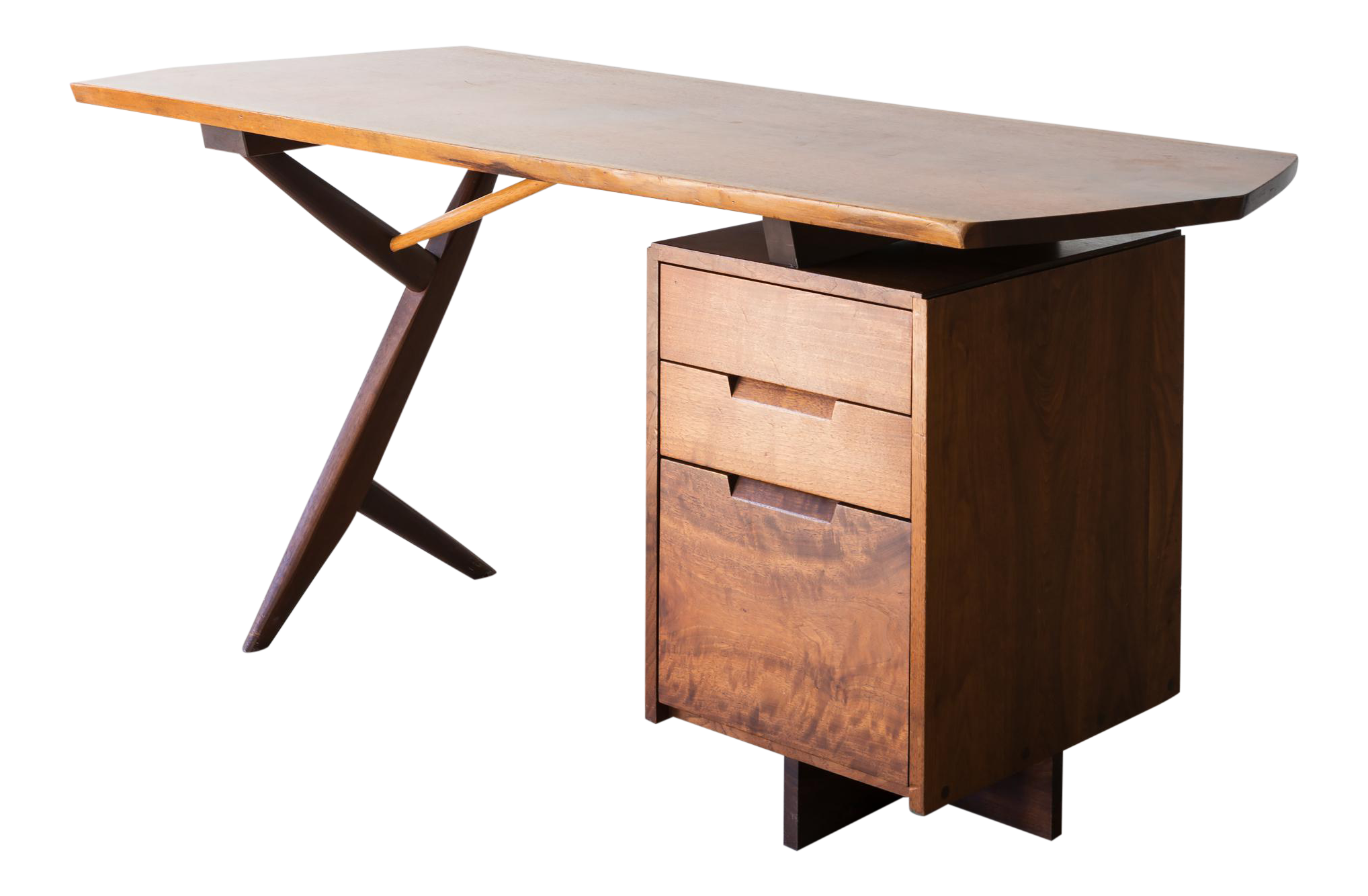 Superior Conoid Cross Legged Desk In American Walnut And Hickory By