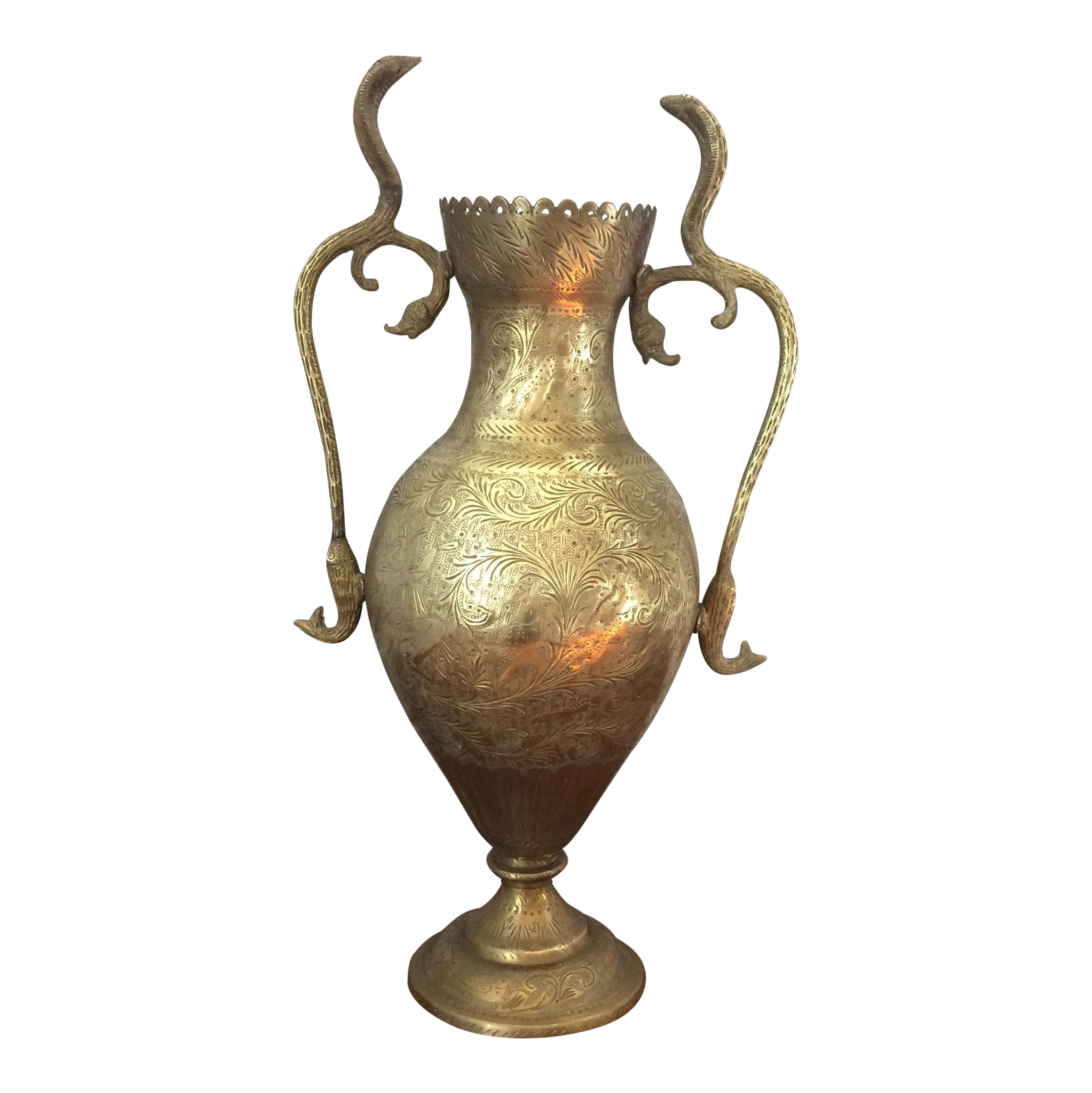 Vintage brass vase with snake and fish handles chairish reviewsmspy