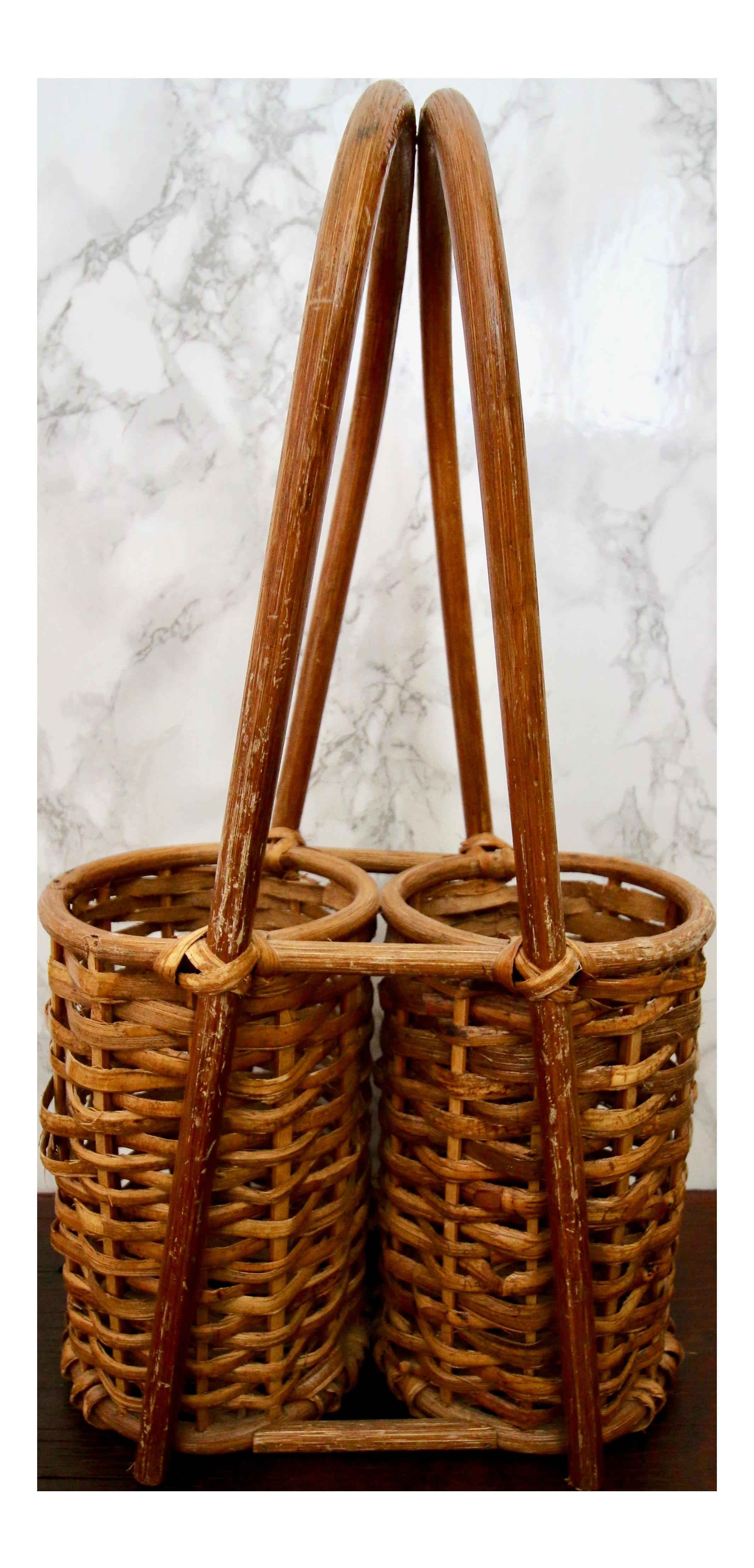 Bamboo Rattan Double Wine 2 Bottle Holder Caddy Basket | Chairish