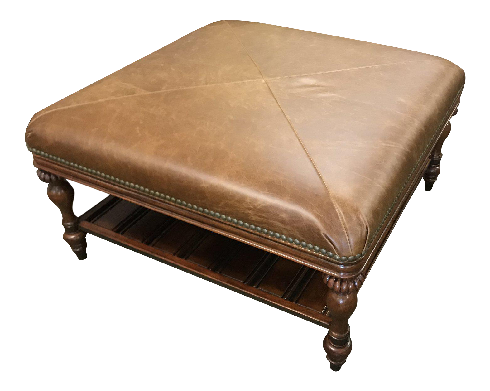 Thomasville Furniture Ernest Hemingway Masai Leather Square Oversized Ottoman With Shelf Chairish