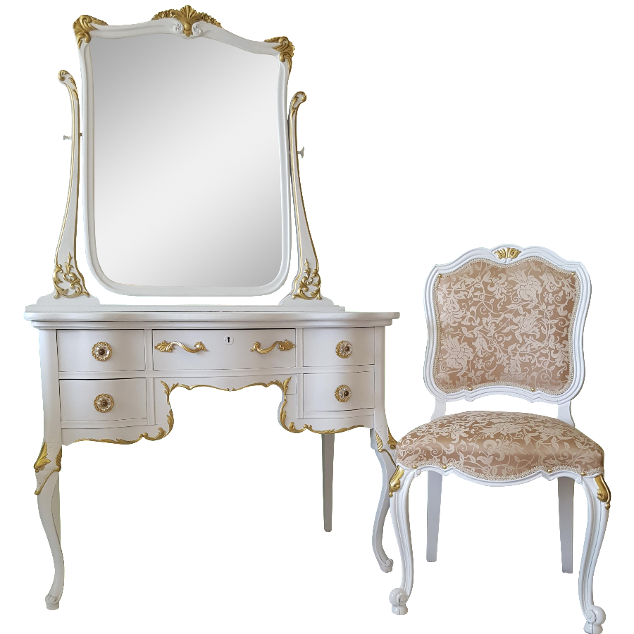 gold makeup vanity table.  Antique White Gold Makeup Vanity Mirror Chair Chairish
