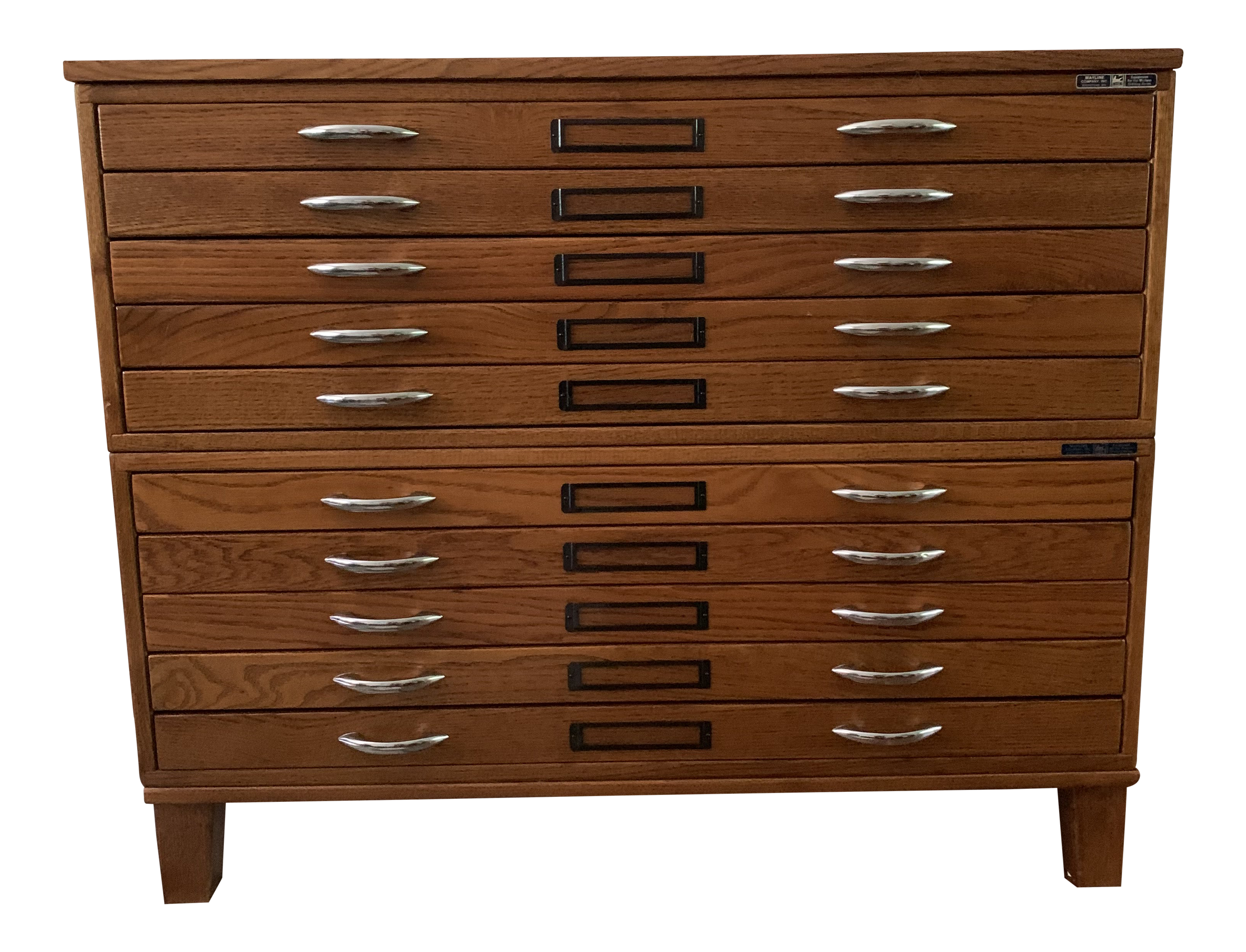 Image of: Vintage Mayline 10 Drawer Blueprint Flat File Oak Cabinet Chairish