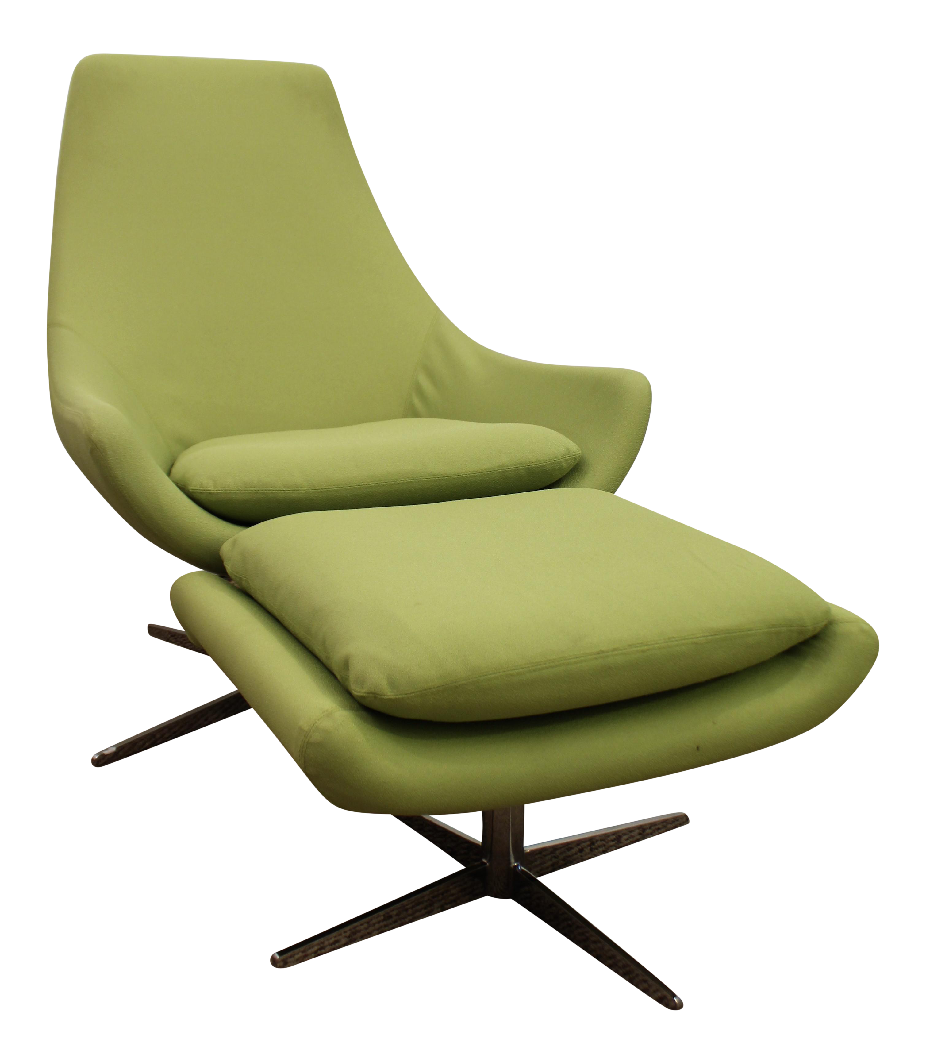 Mid Century Danish Modern Lime Green Swivel Lounge Chair Ottoman Chairish