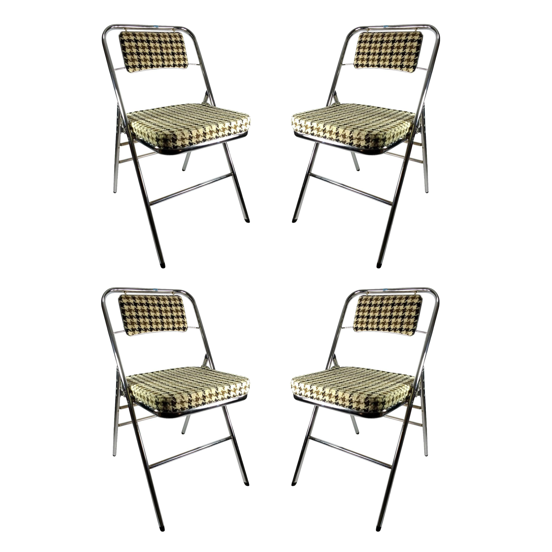 Samsonite Houndstooth Folding Chairs Set of 4