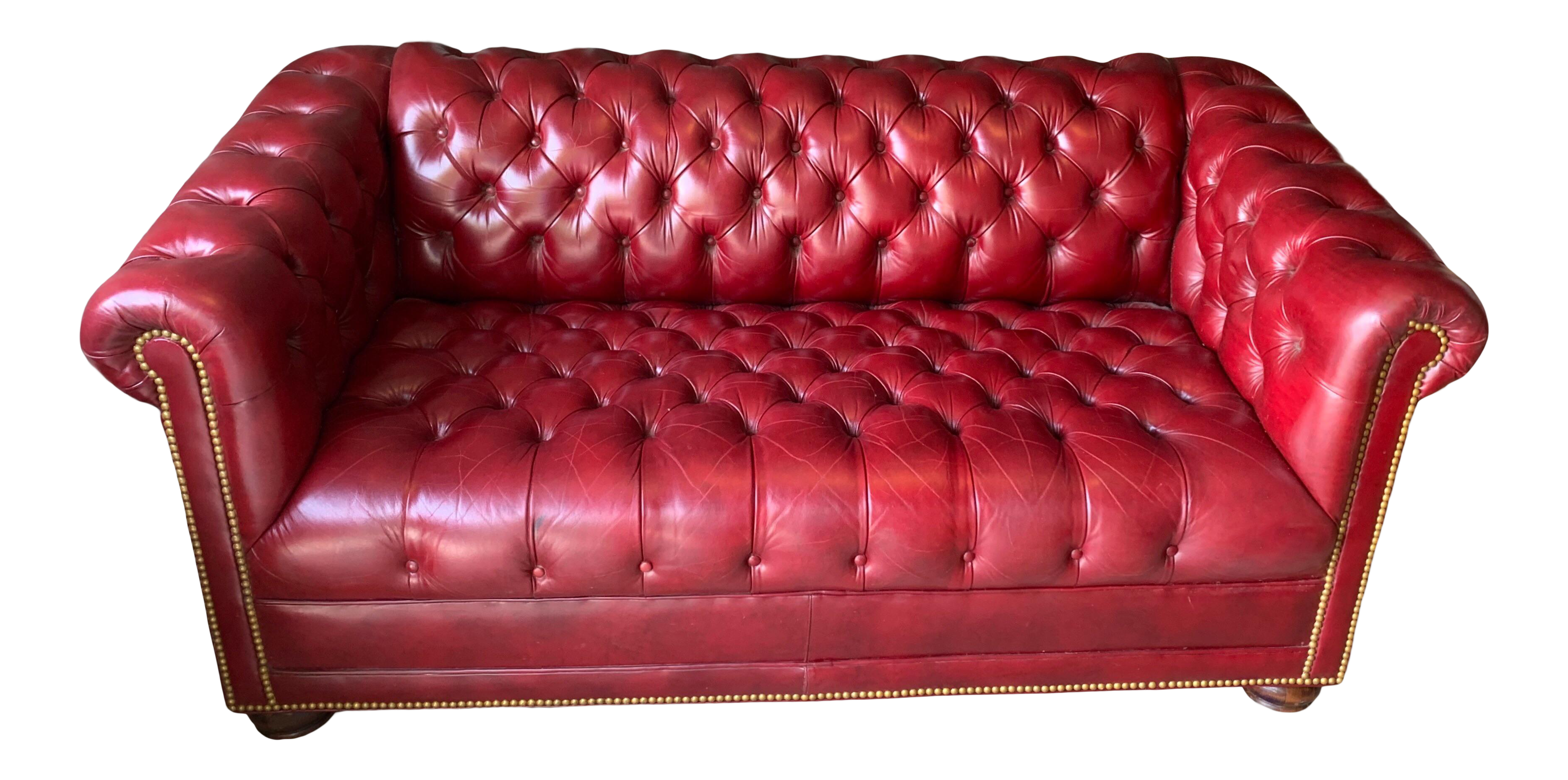 1960s Hancock Moore Red Leather Chesterfield Sofa Chairish