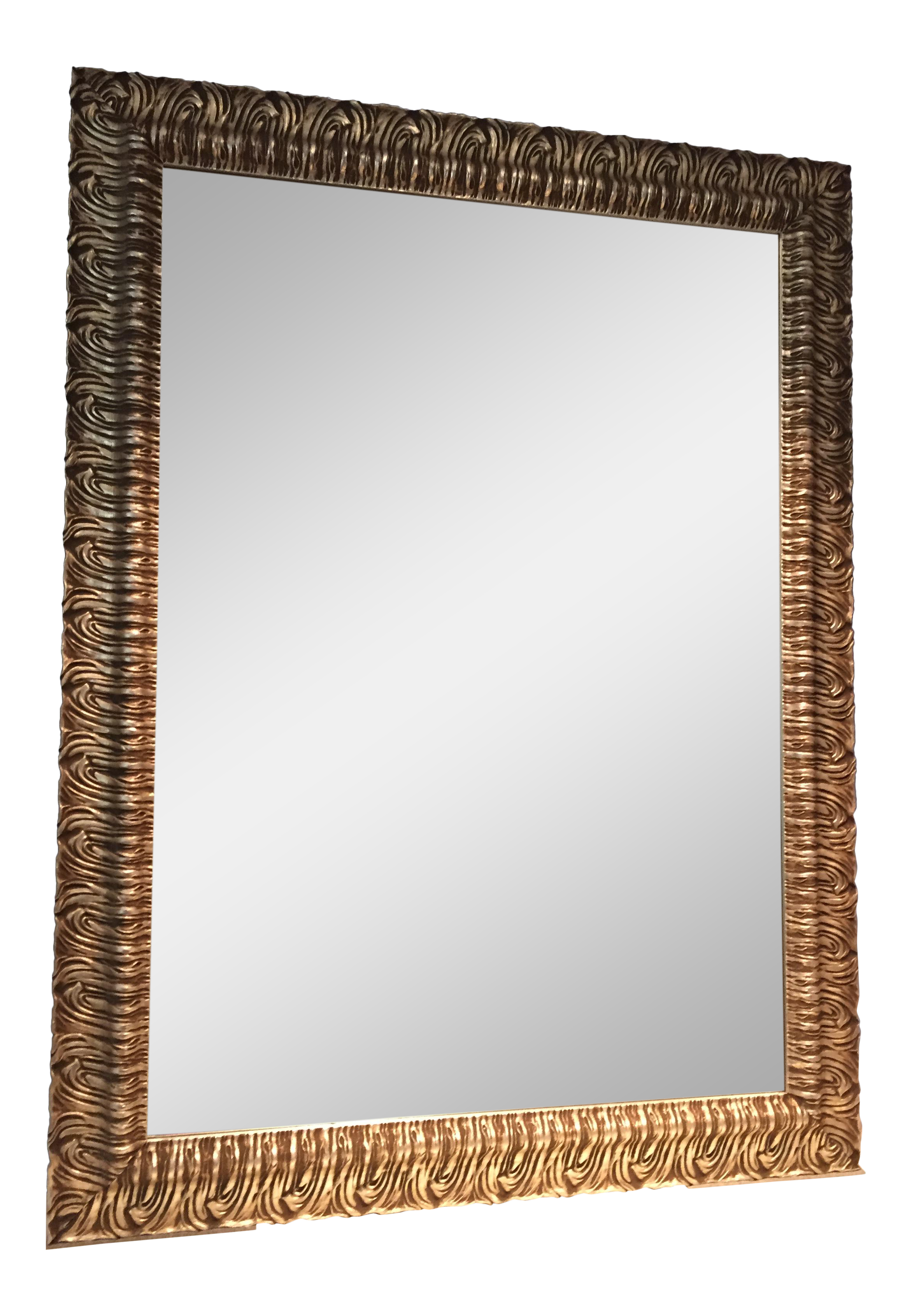 Custom silver wood rectangular mirror 36 x 48 chairish for Mirror 84 x 36