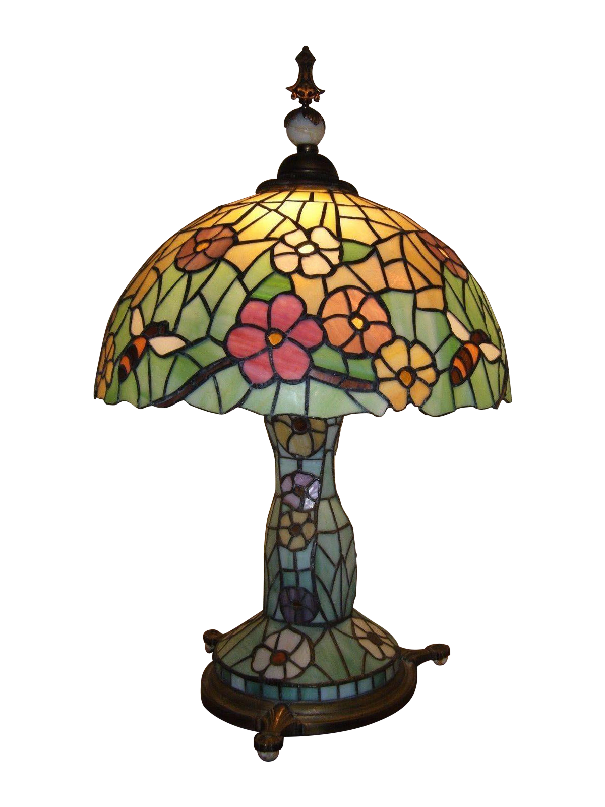 Xl antique chicago mosaic stained glass lamp chairish for Table mosaic xl 6 chaises encastrables