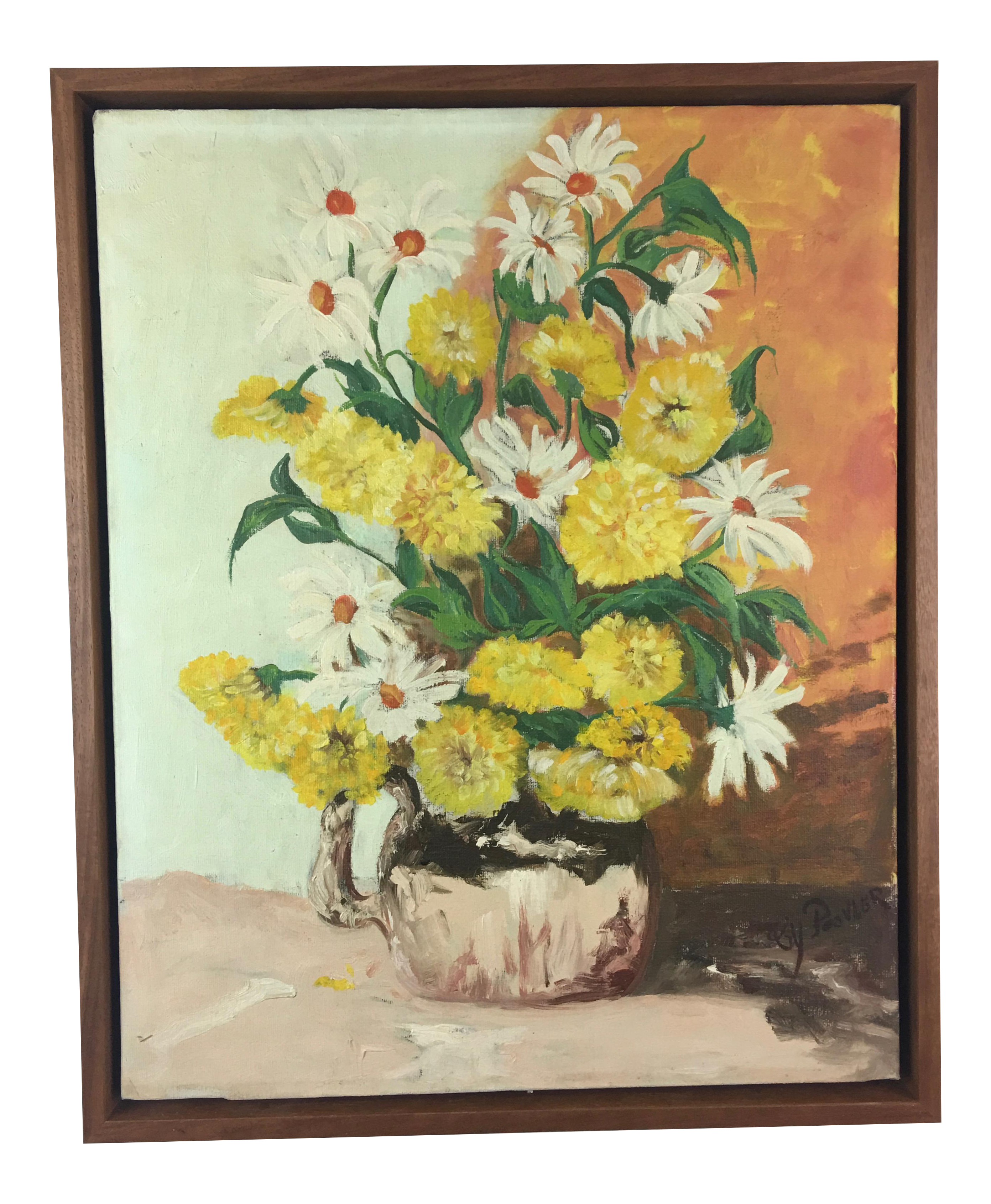 Vintage Oil Painting Yellow Flowers In Vase Signed Chairish