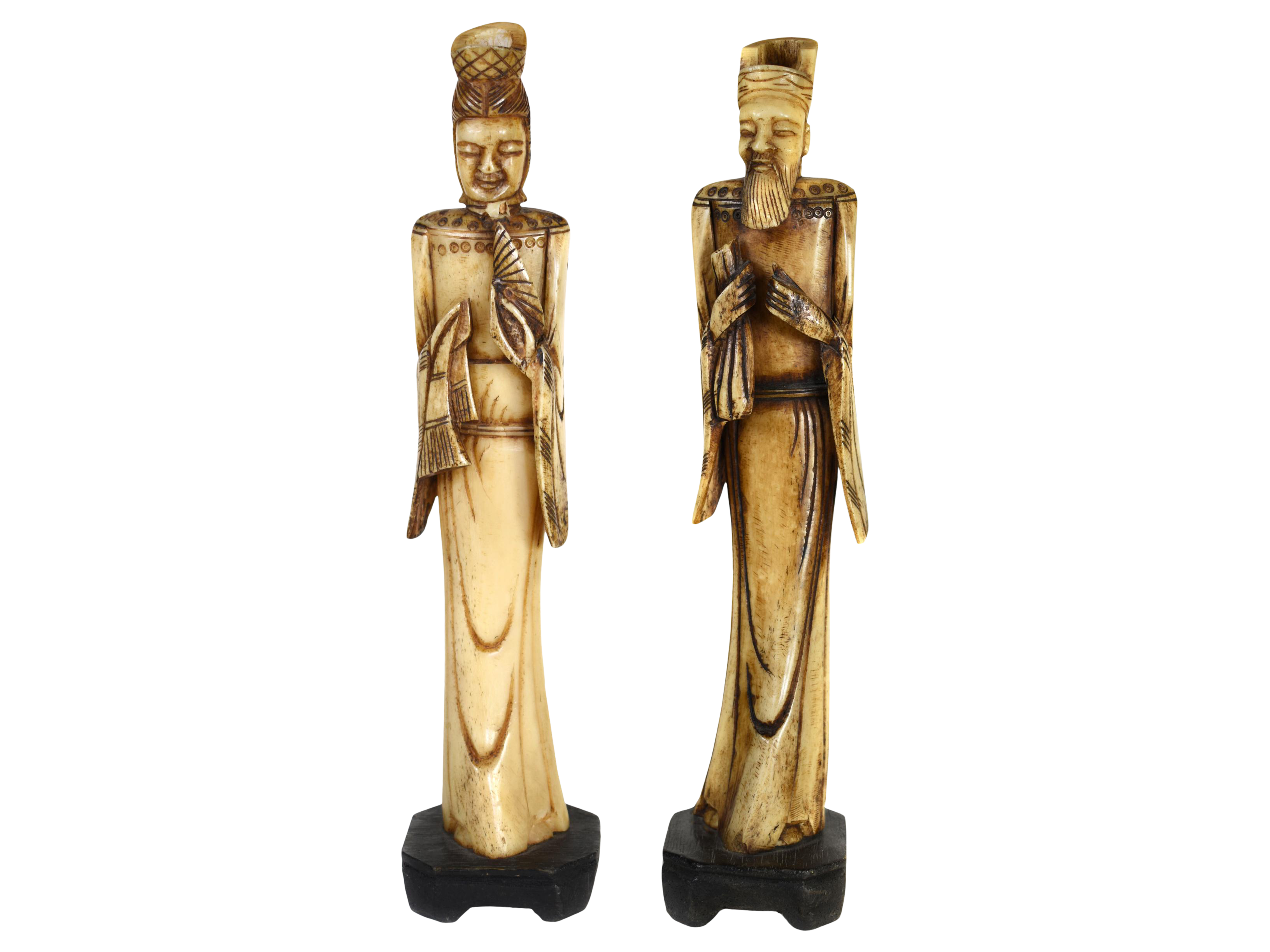 Antique Man Woman Chinese Asian Hand Carved Bone Emperor Empress Statue Figurines A Pair Chairish
