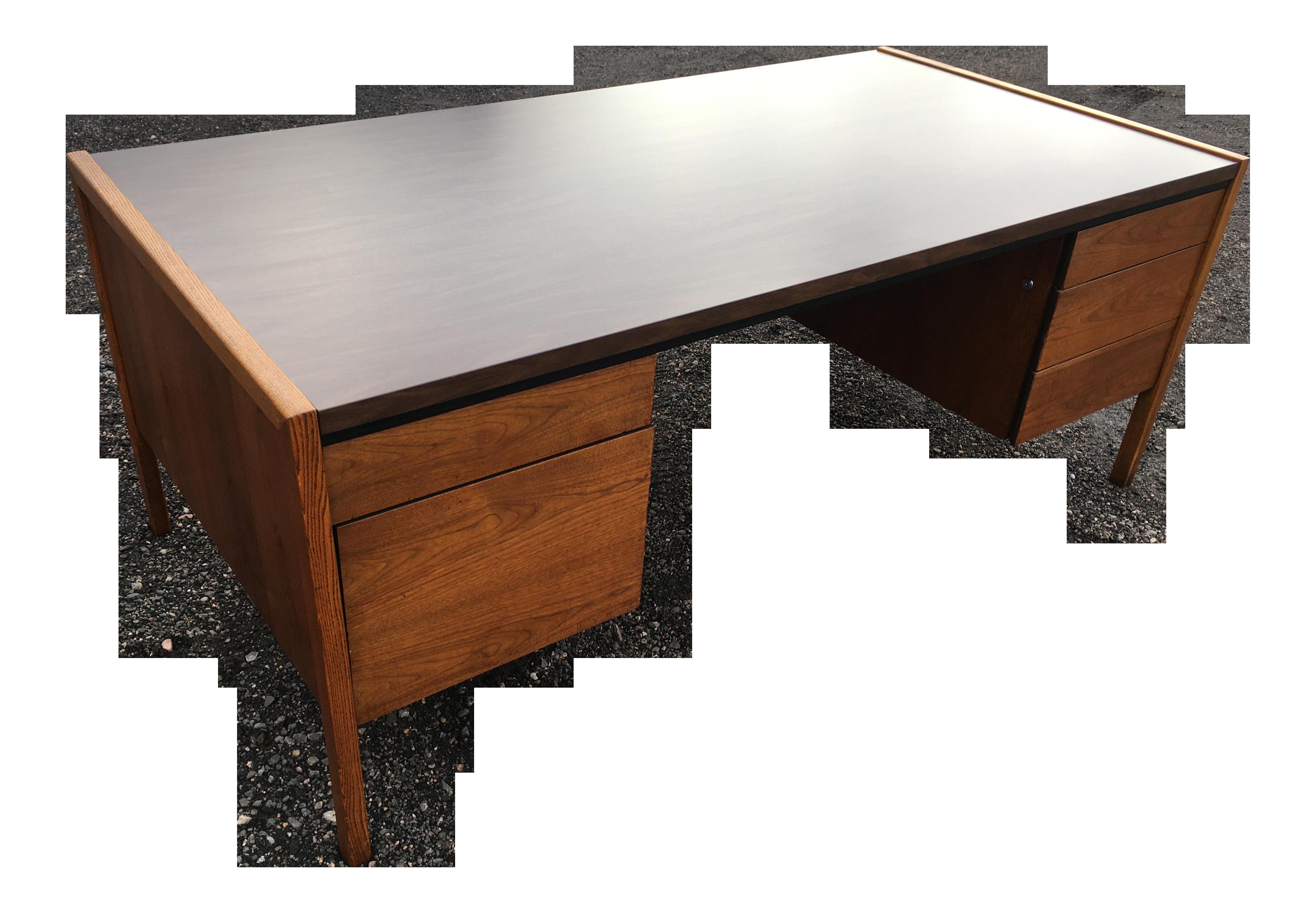 Image of: Mid Century Modern Walnut Executive Desk Manner Of Jens Risom Chairish