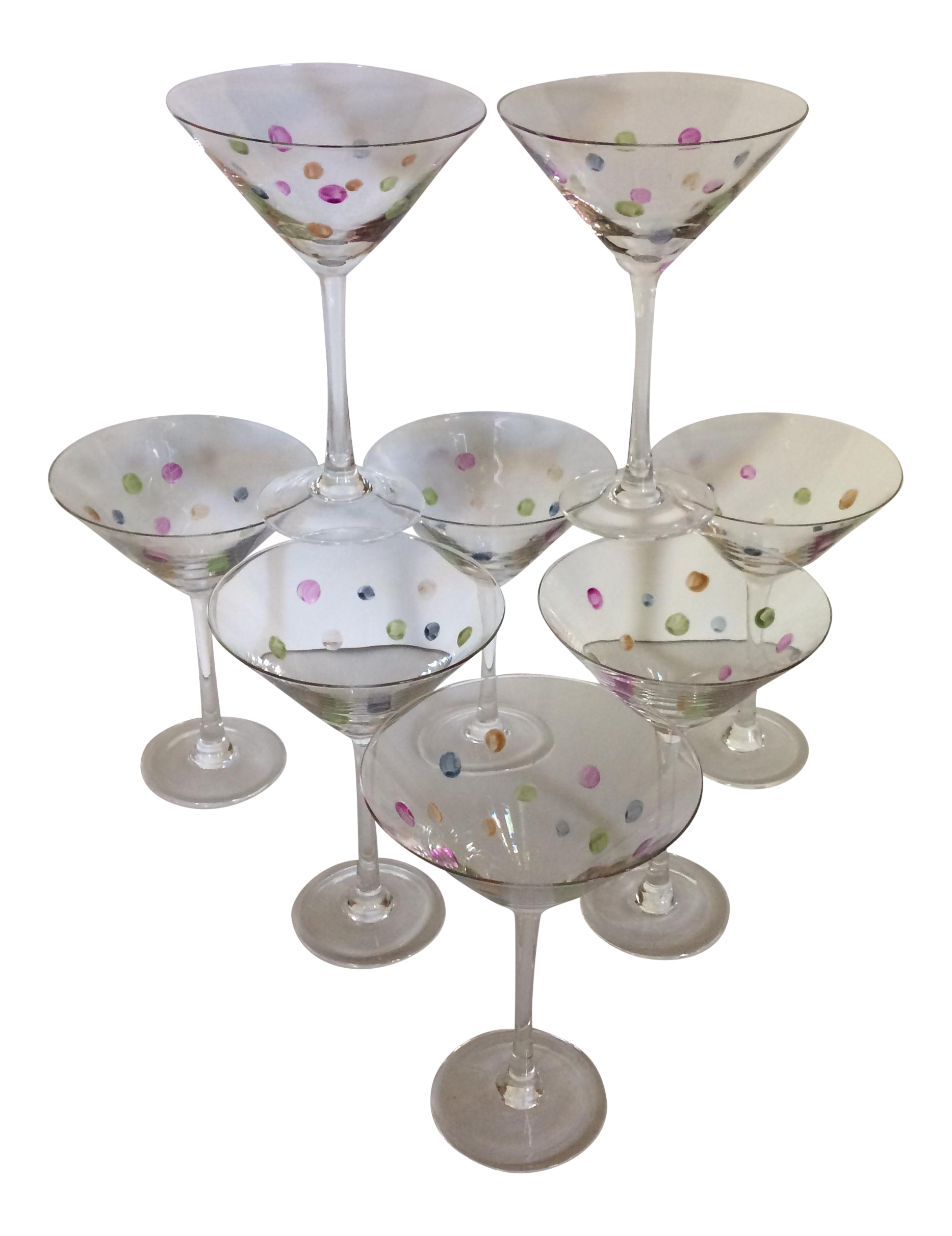 Vintage Crystal Hand Cut & Painted Dots Martini Glasses - Set of 8 ...