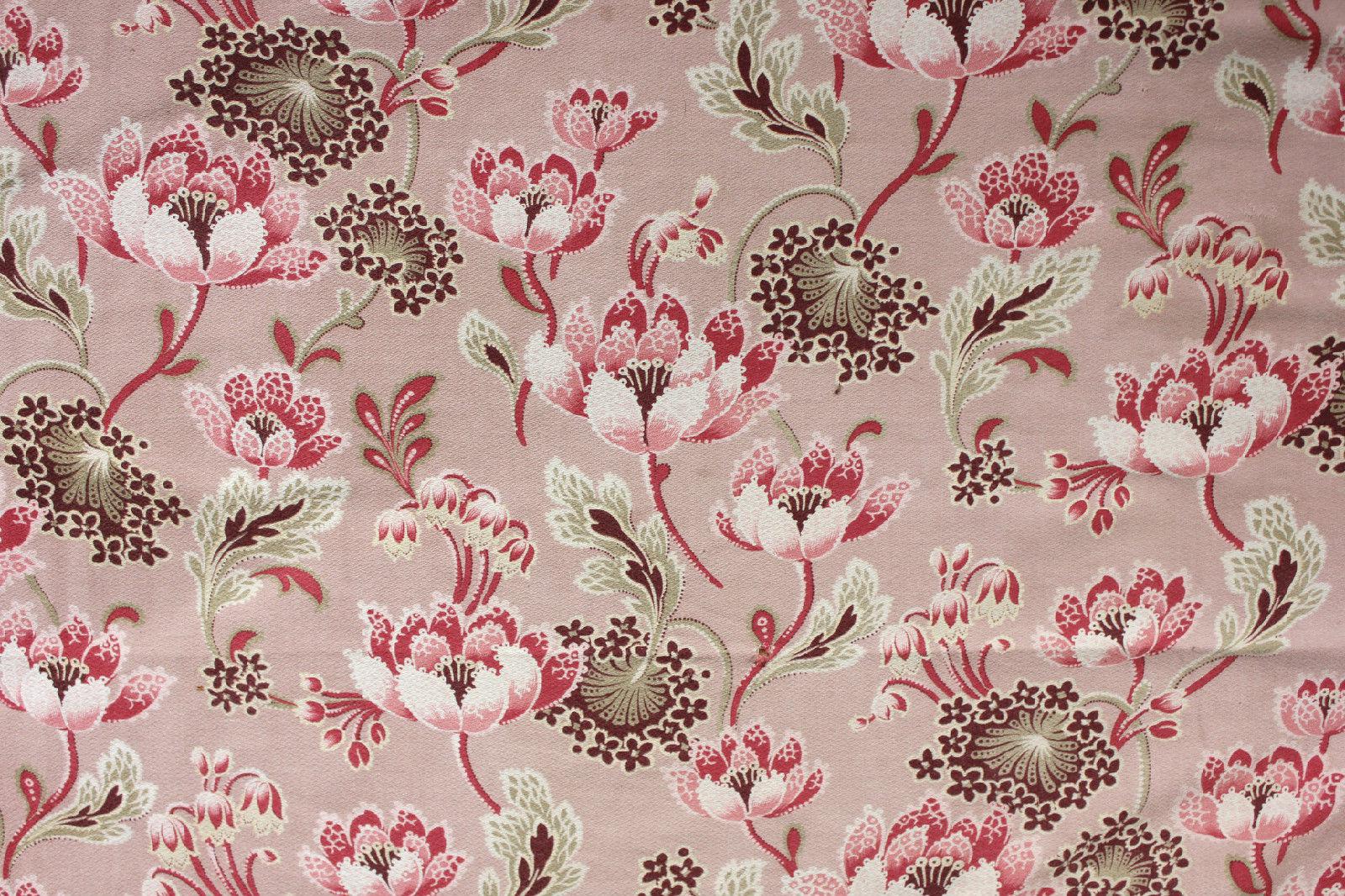 Antique French Art Nouveau Pink Floral Printed Cotton Cretonne