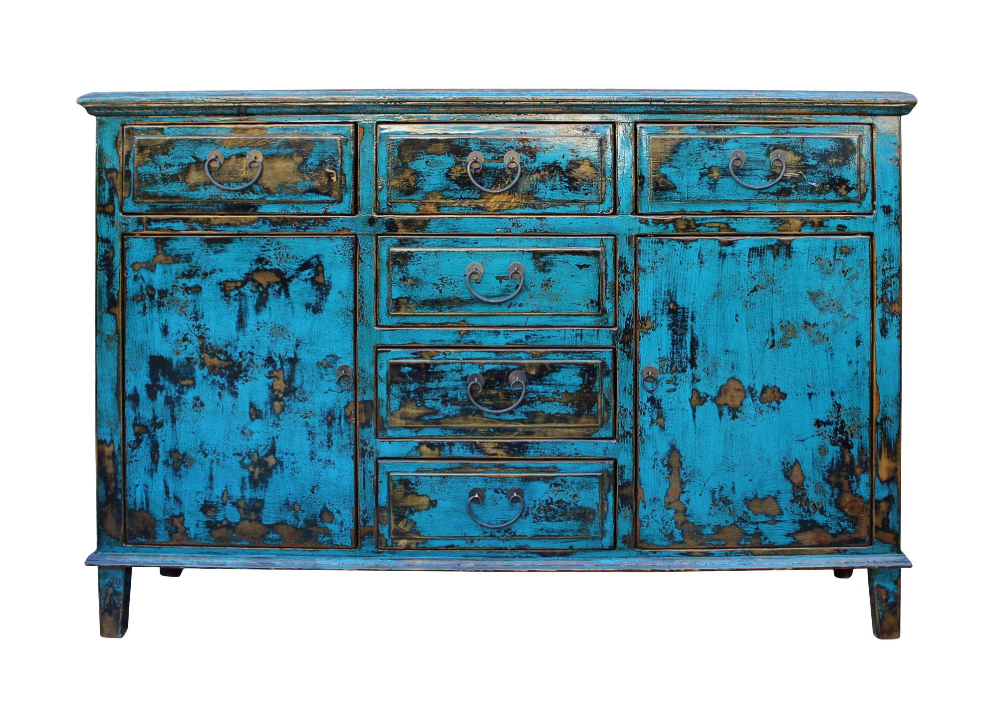 Oriental Distressed Rustic Blue Credenza Sideboard Buffet Table ...