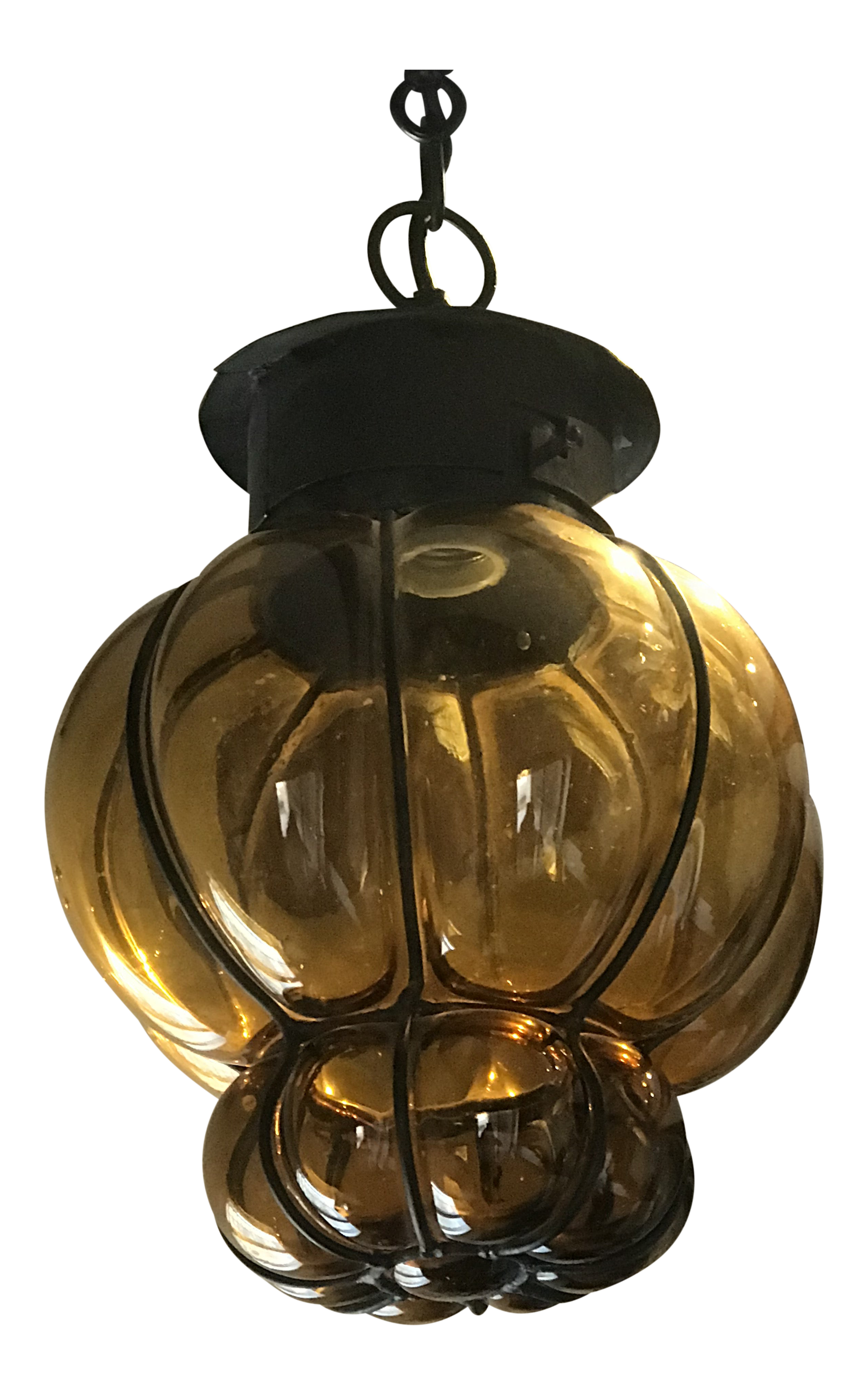 Picture of: 1960 S Mexican Blown Glass And Wrought Iron Pendant Chairish