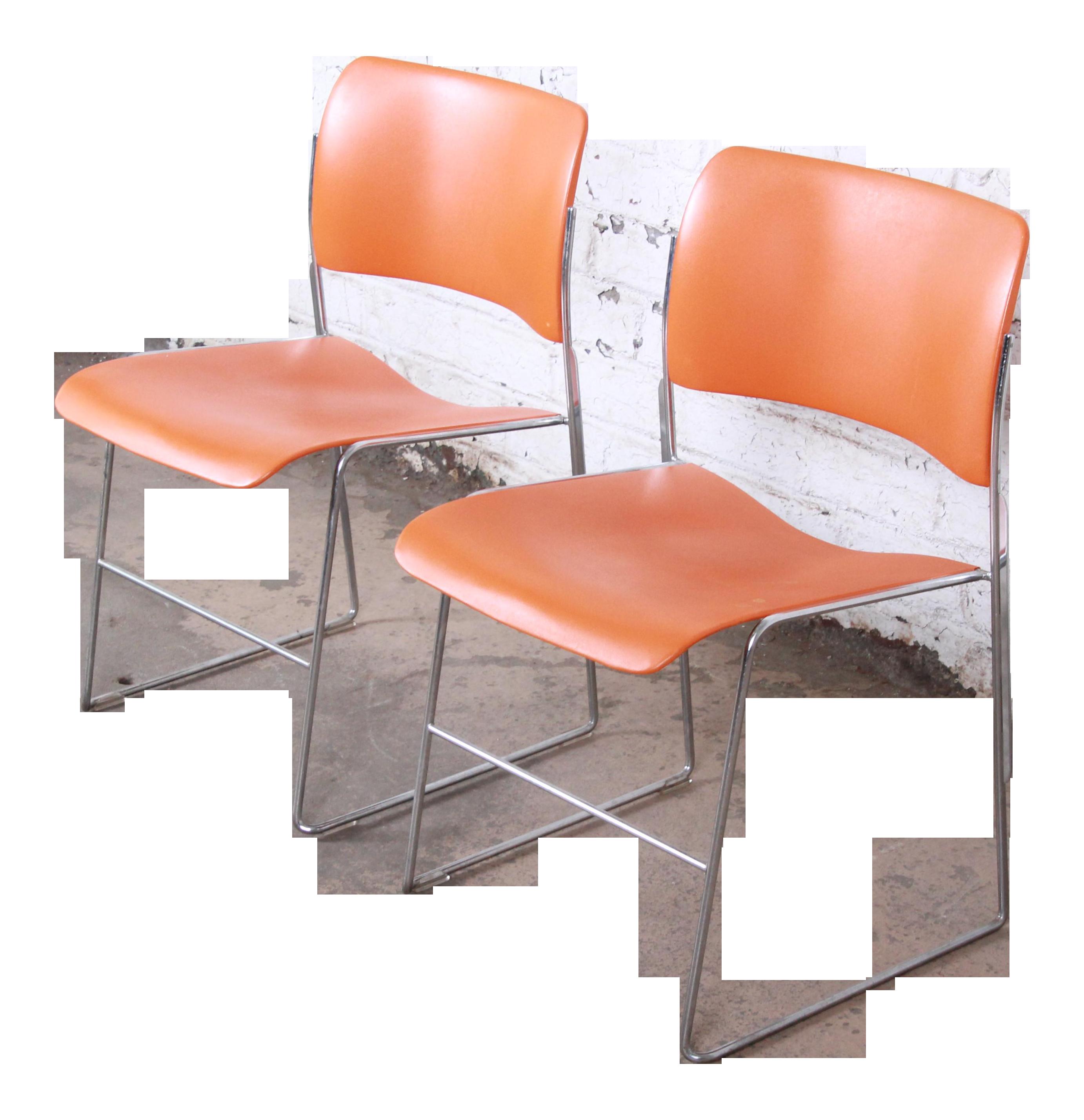 David Rowland 40 4 Orange And Chrome Stacking Chairs Pair