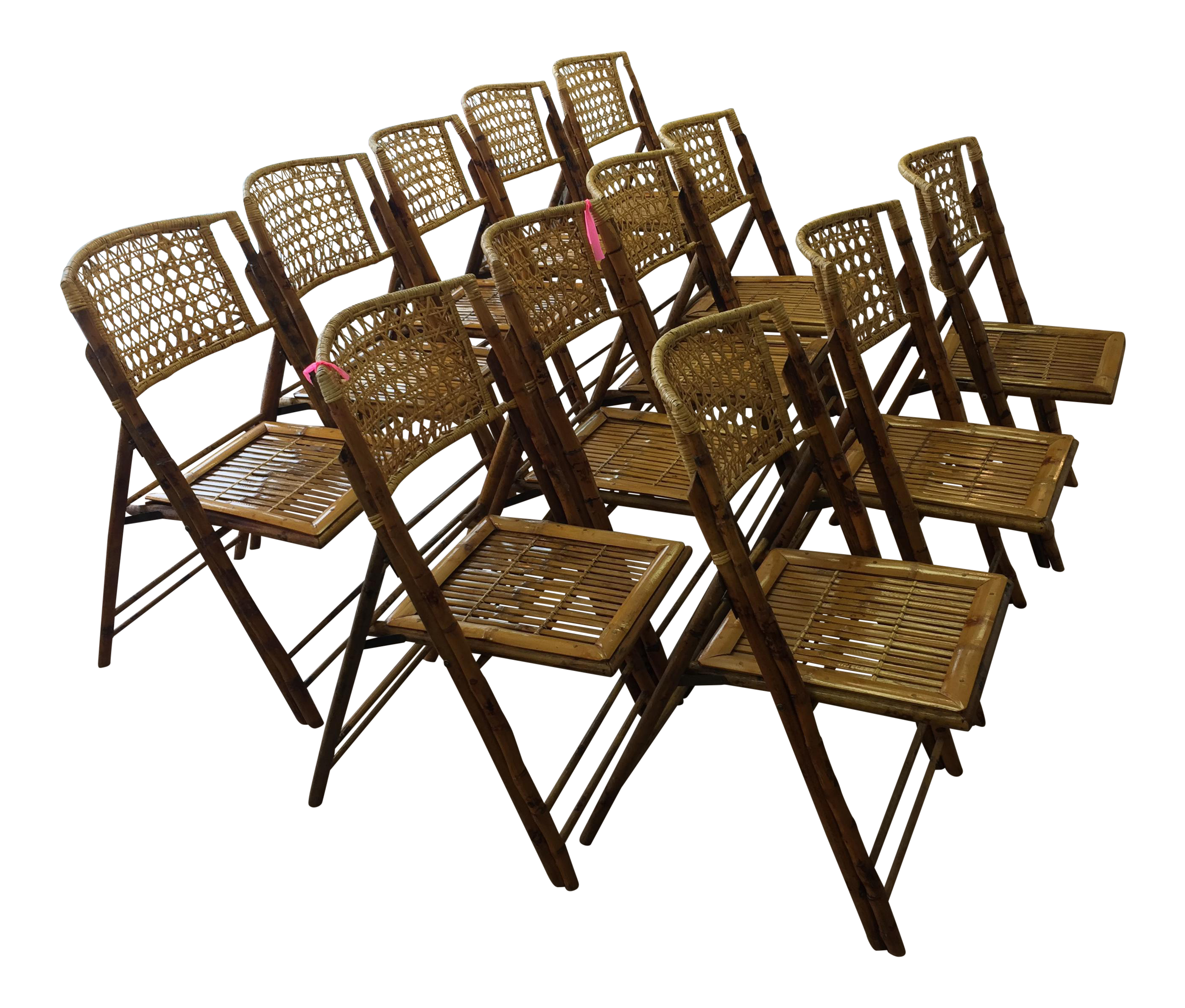 Classic Bamboo Folding Chairs Set of 12