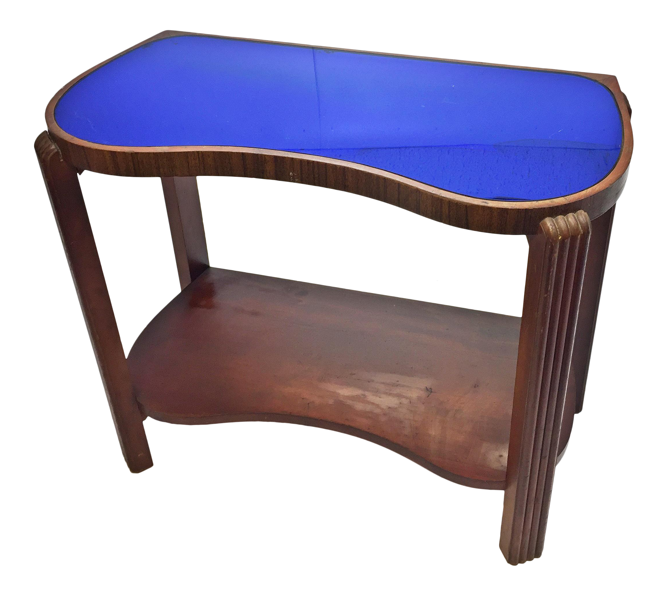 Art Deco Kidney Shaped Cocktail Table with Blue Mirrored Glass Top