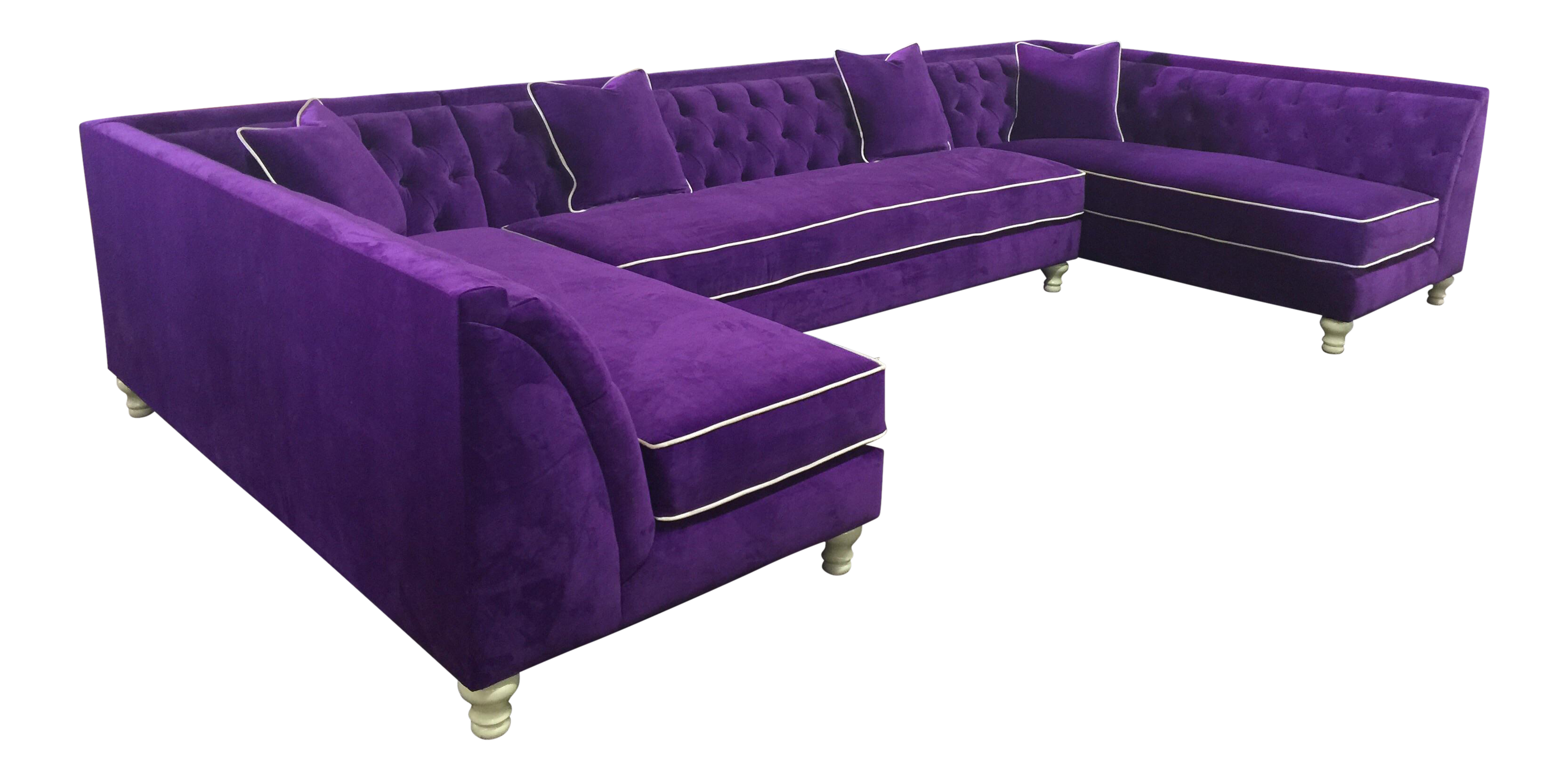 Picture of: Tufted Purple Velvet U Shaped Sectional Chairish