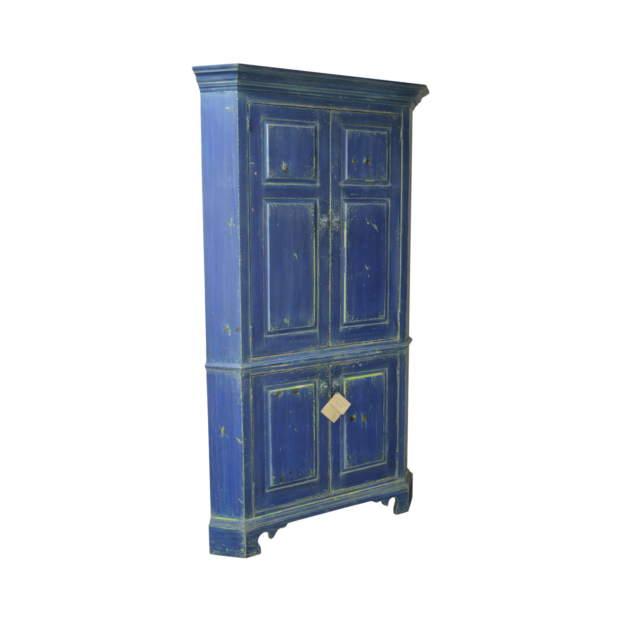 William Draper Country Classics Custom Made Blue Painted Corner Cabinet