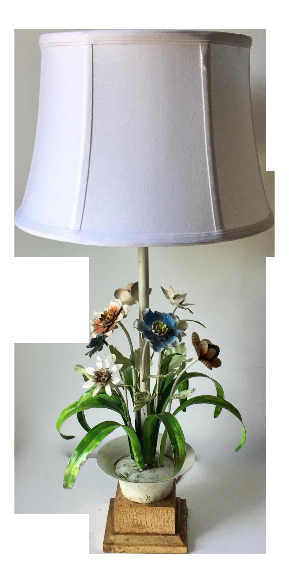 VTG Tole Painted Metal Italian Table Flower Lamp Mid Century White Blue Green