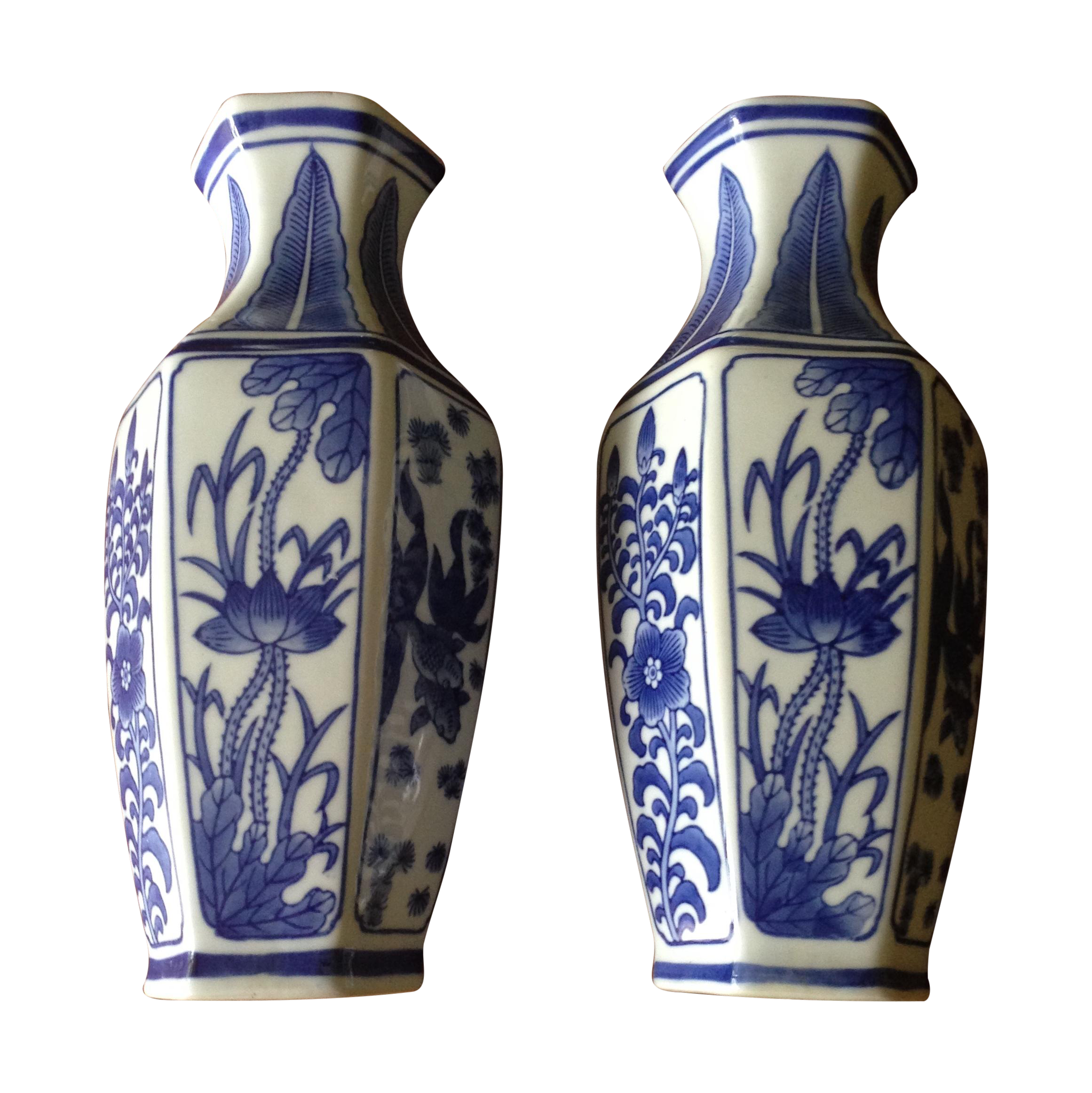 Chinoiserie vintage blue white wall vases pair chairish reviewsmspy