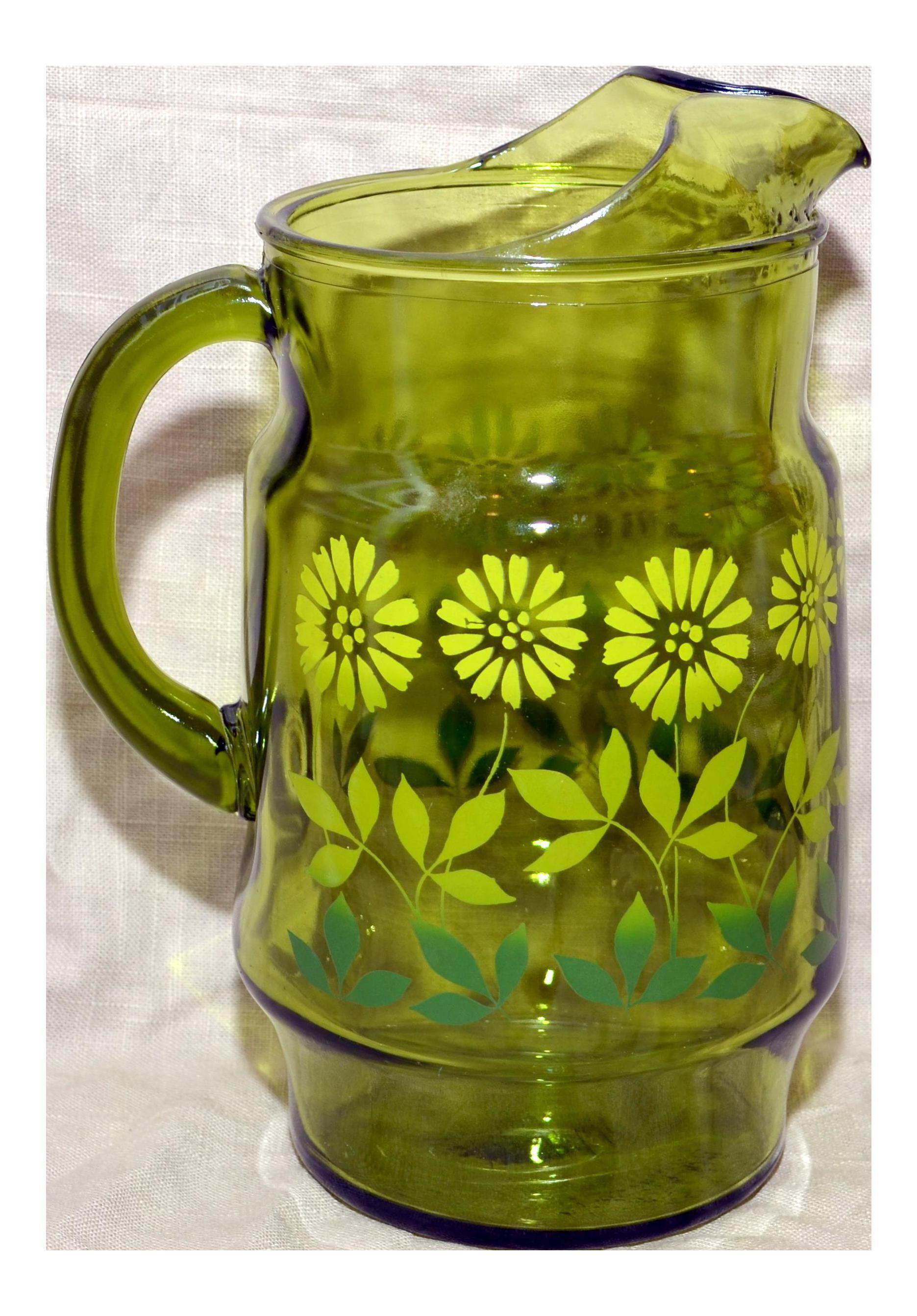 Vintage Green Glass Daisy Design Pitcher Chairish