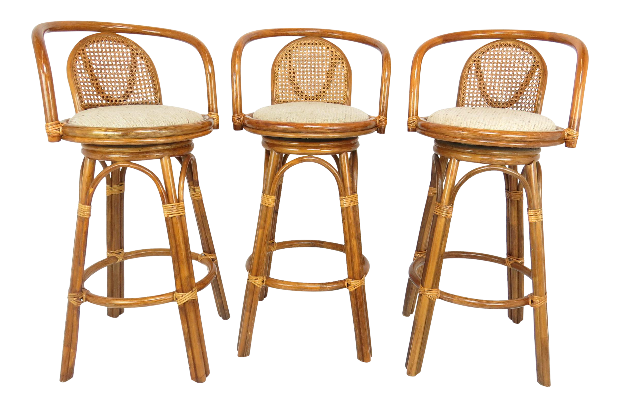 Picture of: 1970s Vintage Tiki Bamboo And Rattan Swivel Bar Stools Set Of 3 Chairish