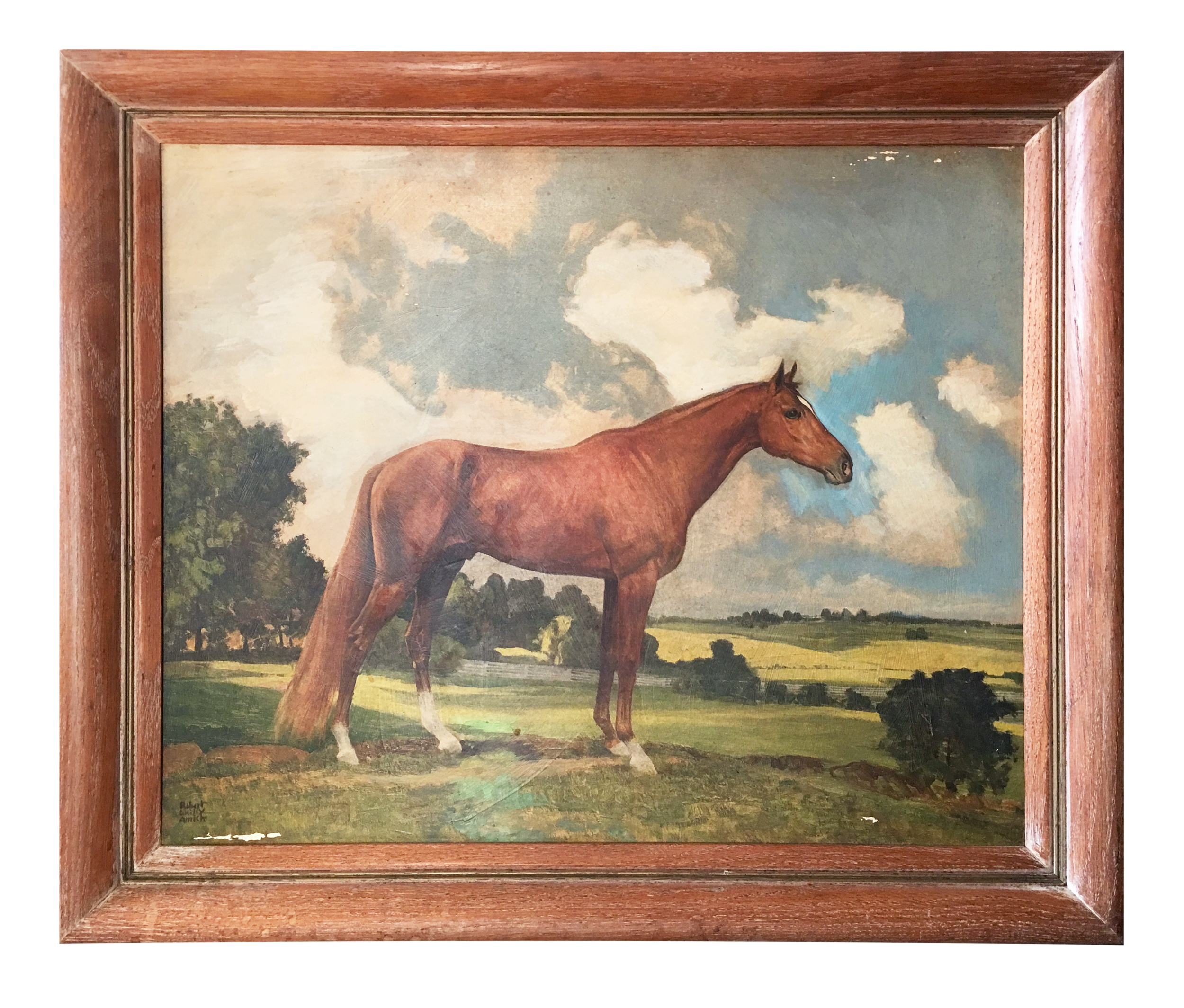 Framed Horse Painting | Chairish
