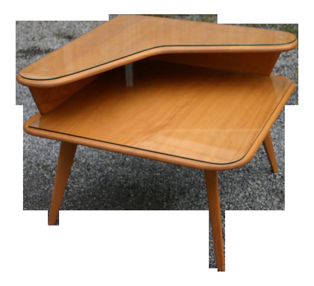 Sophisticated Heywood Wakefield 2 Tier Corner Table | DECASO